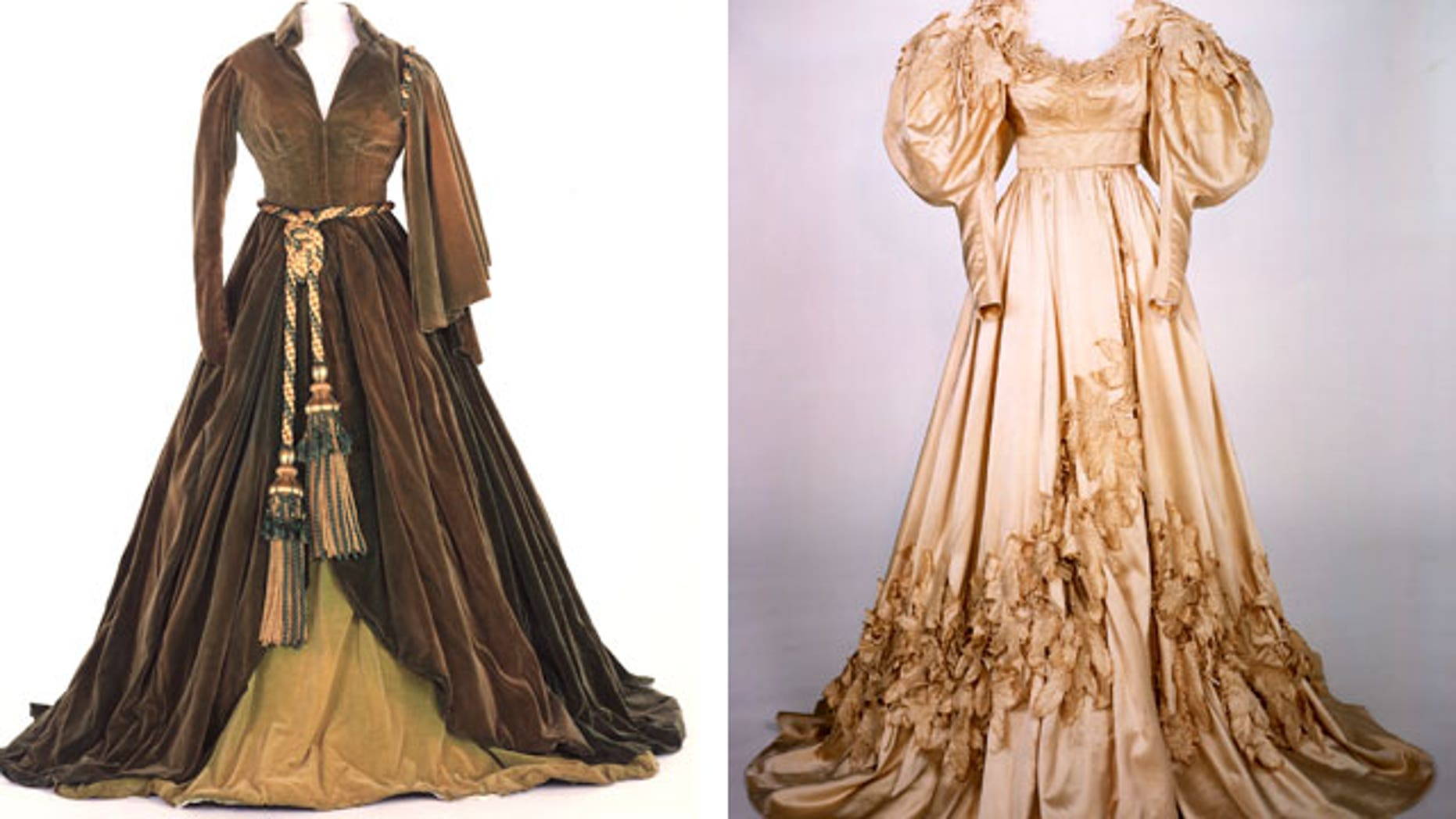 Two of the famous 'Gone With the Wind' costumes are in need of repair.