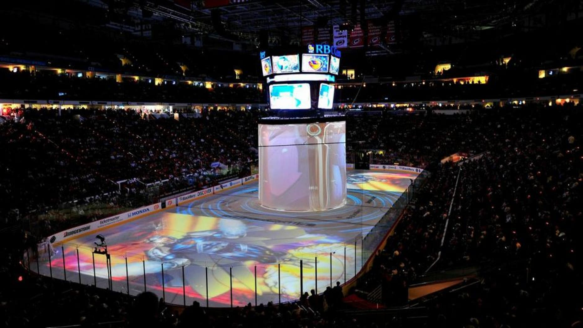 RALEIGH, NC - JANUARY 30: A general view of the arena is seen as images from 'The Guardian Project' are projected onto the rink during the 58th NHL All-Star Game at the RBC Center on January 30, 2011 in Raleigh, North Carolina. Team Lidstrom won 11-10. (Photo by AJ Messier/NHLI via Getty Images)