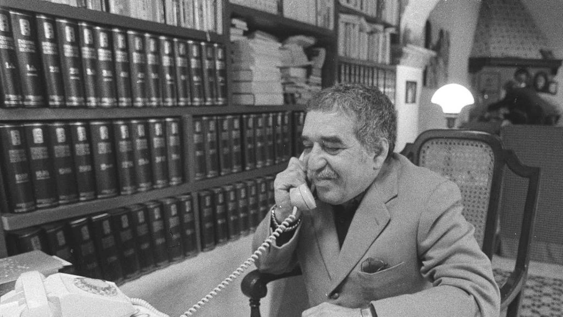 FILE - This undated file photo shows Nobel laureate Gabriel Garcia Marquez at an undisclosed location. The University of Texas' Harry Ransom Center has acquired Marquez's archive. The writer died on April 17, 2014. (AP Photo, File)