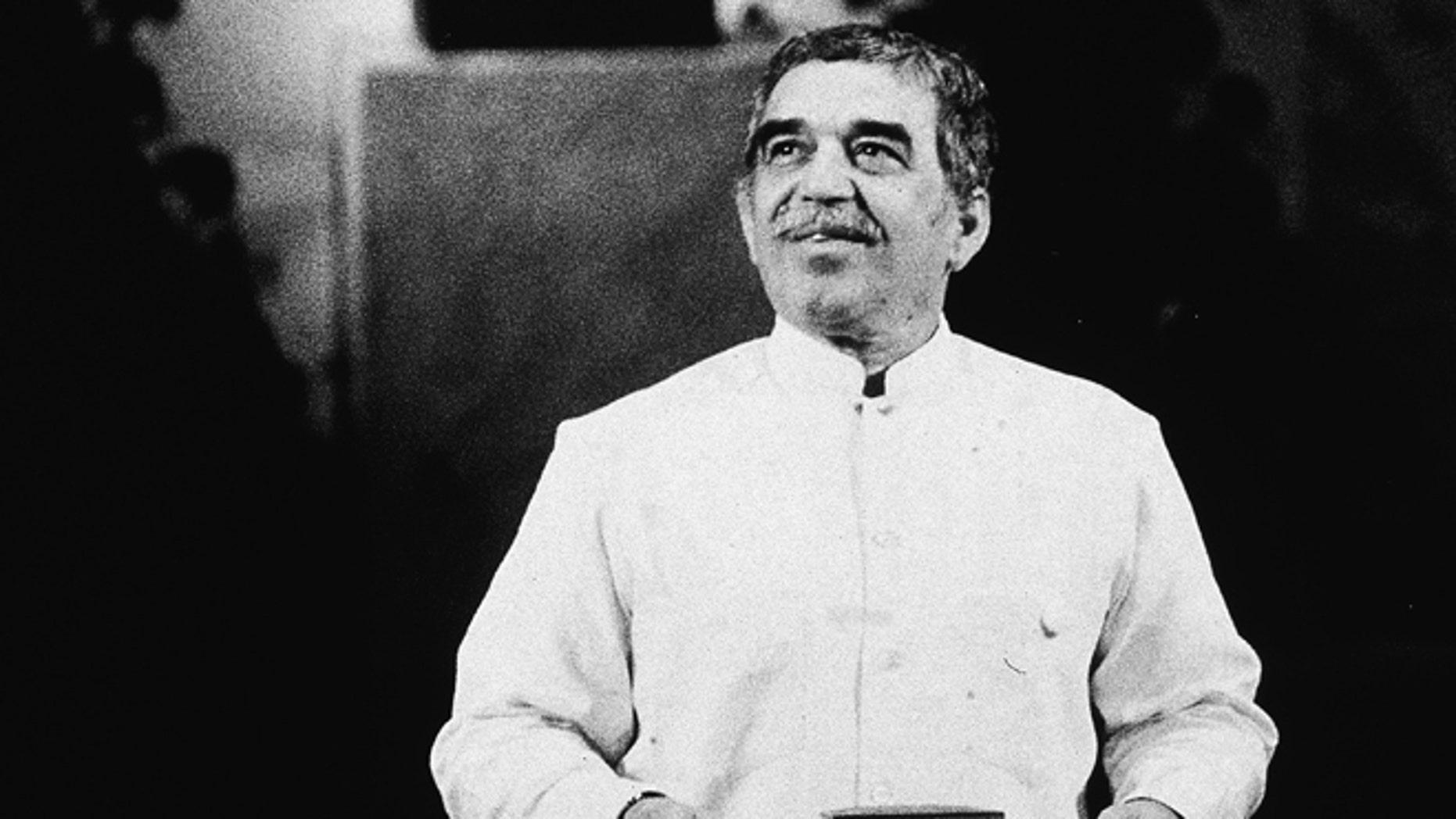 Garcia Marquez speaks at a podium after receiving the Nobel Prize in Literature, Sweden, 1982.