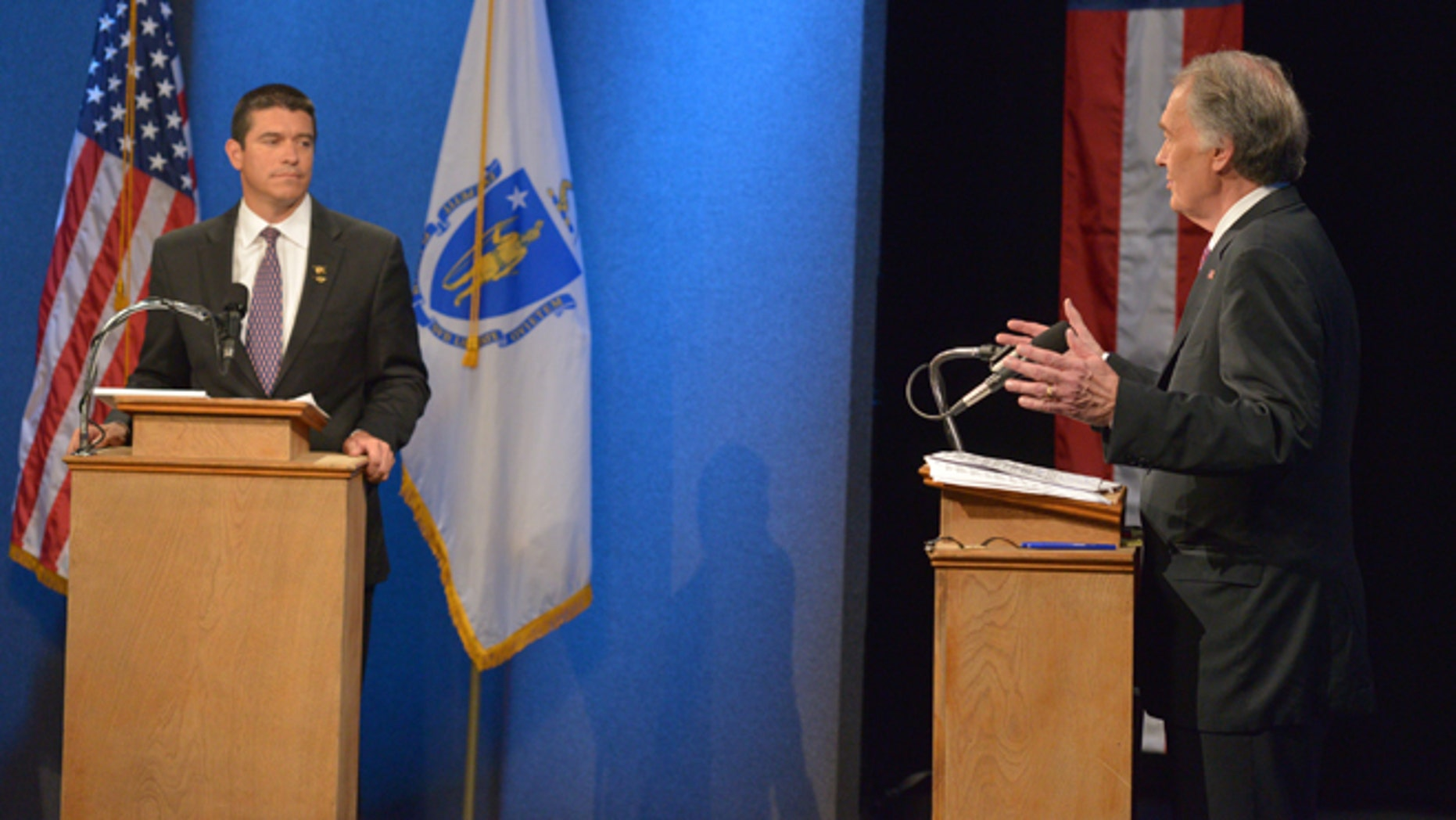 Democratic Congressman Edward Markey, right, and Republican Gabriel Gomez, left.