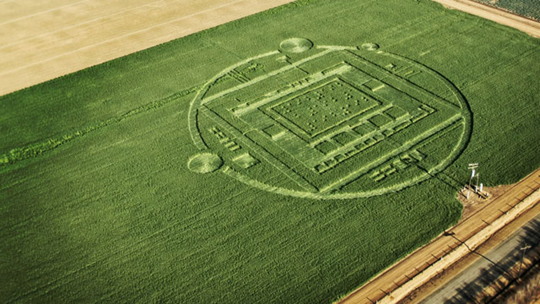 "January 6, 2014: This photo provided by NVIDIA shows a 310-foot ""crop circle"" in a barley field Chualar, Calif., that contains a stylized image of a computer chip and the number ""192"" in Braille. The company announced the Tegra K1, a new chip for tablets and smartphones that contains 192 computing ""cores,"" or mini-computers, for graphics applications. (AP Photo/NVIDIA)"