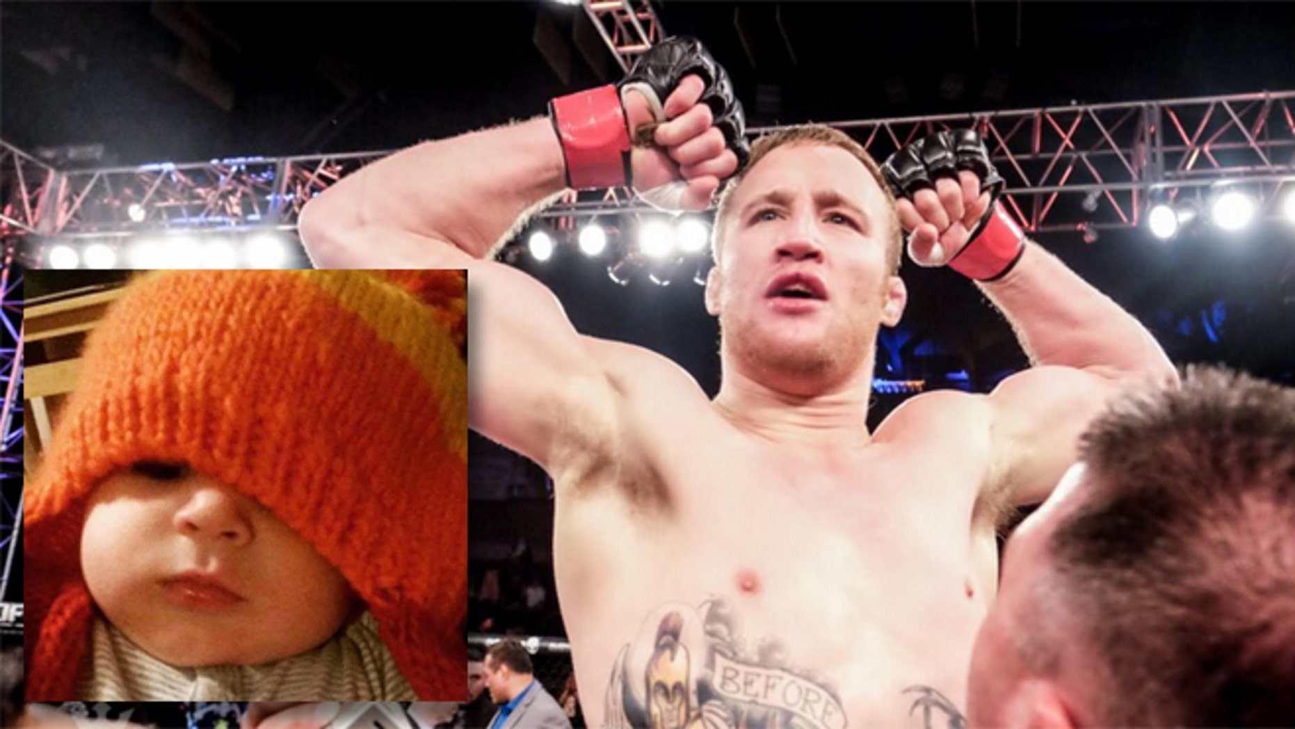 Justin Gaetjhe and Jayne Wood (inset). (Photos: Gaethje, World Series of Fighting; Wood, GoFundMe)
