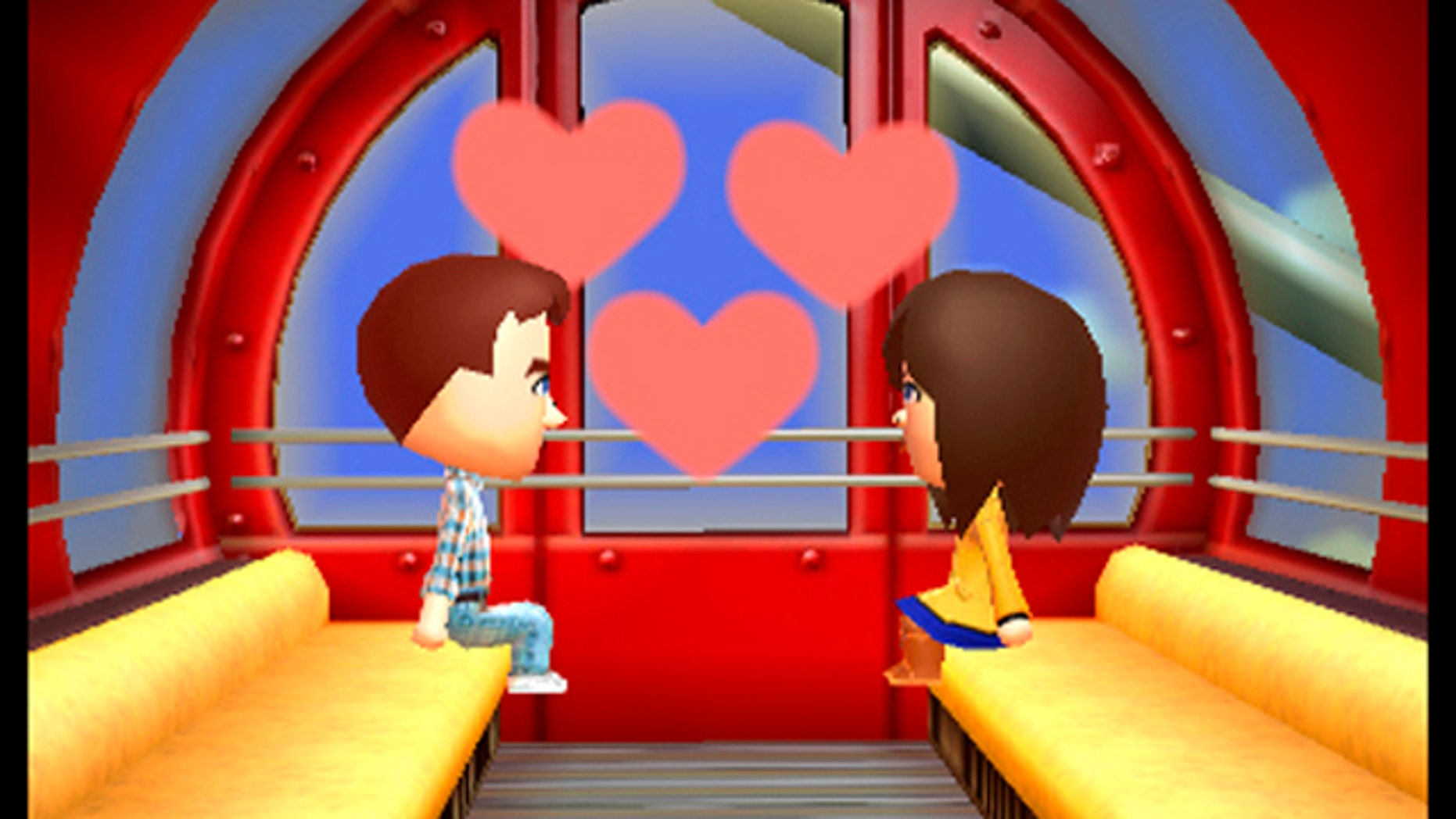 FILE - This image provided by Nintendo shows a scene from the video game 'Tomodachi Life'. Nintendo is apologizing and pledging to be more inclusive after being criticized for not recognizing same-sex relationships in English editions of the life-simulator video game. But the publisher said it was too late to make changes. (AP Photo/Nintendo)