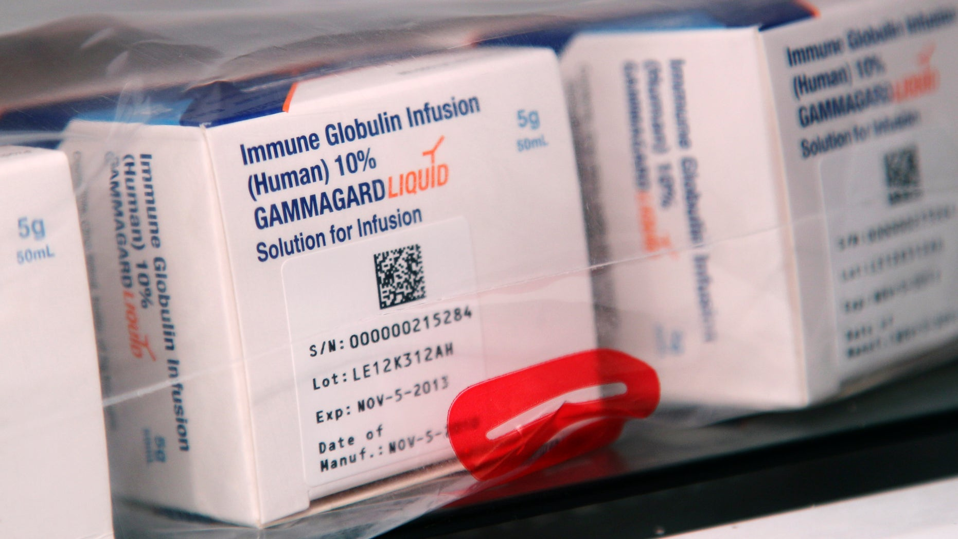 Gammagard, a treatment that is being tested for Alzheimer's disease. (AP Photo/Seth Wenig)