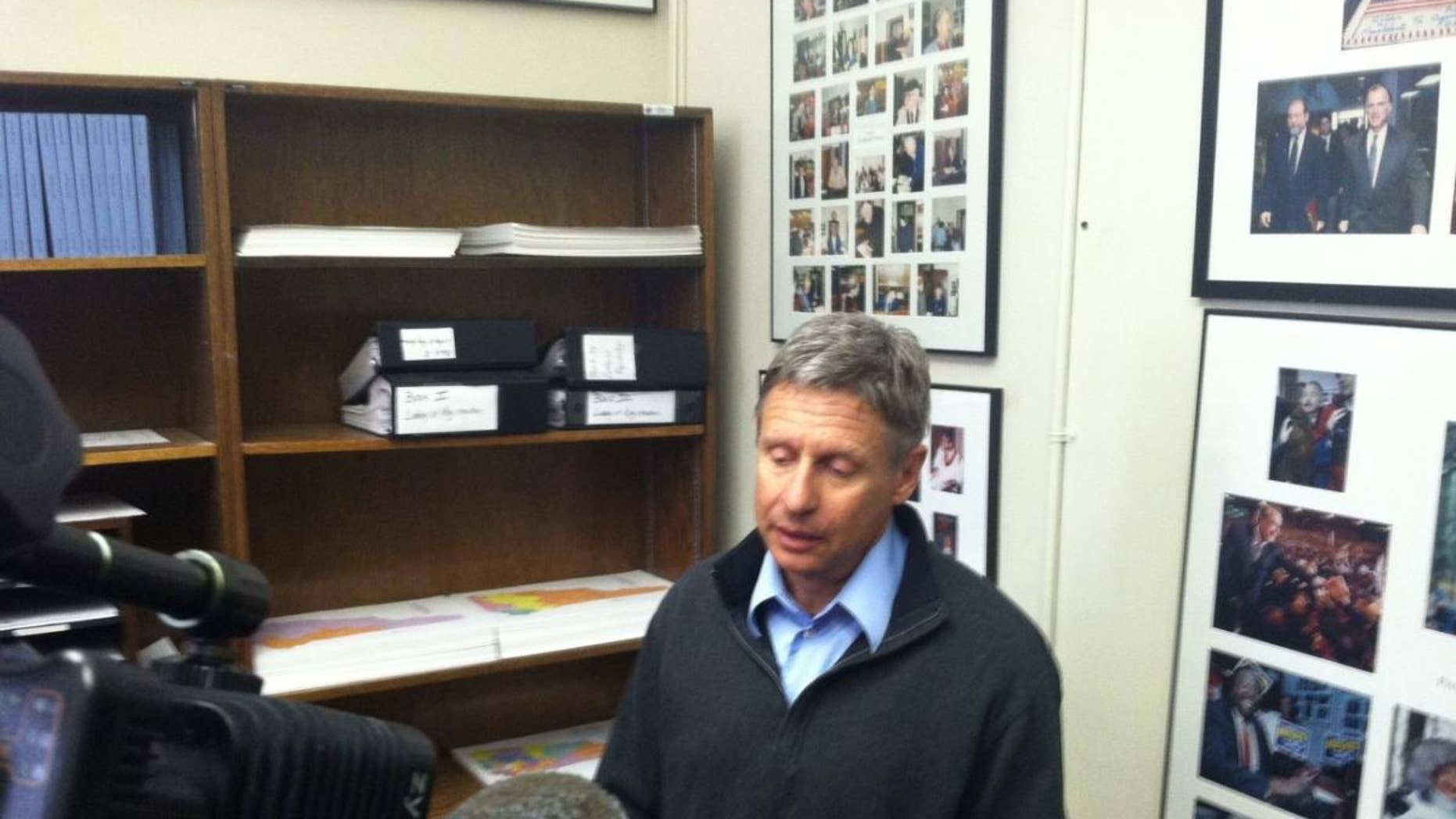 Gary Johnson flew all night to make the filing deadline for the New Hampshire presidential primary. (Fox News Photo/Andrew Fone)