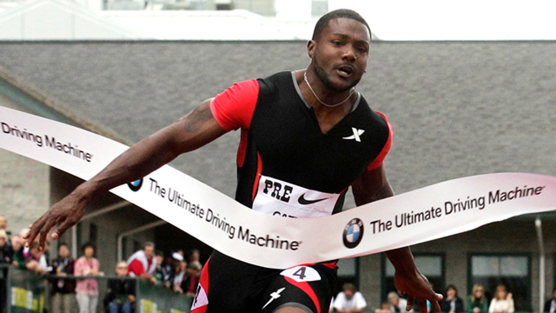 June 2, 2012: United States Justin Gatlin winning the 100-meter event at the Prefontaine Classic athletics meet in Eugene, Ore.
