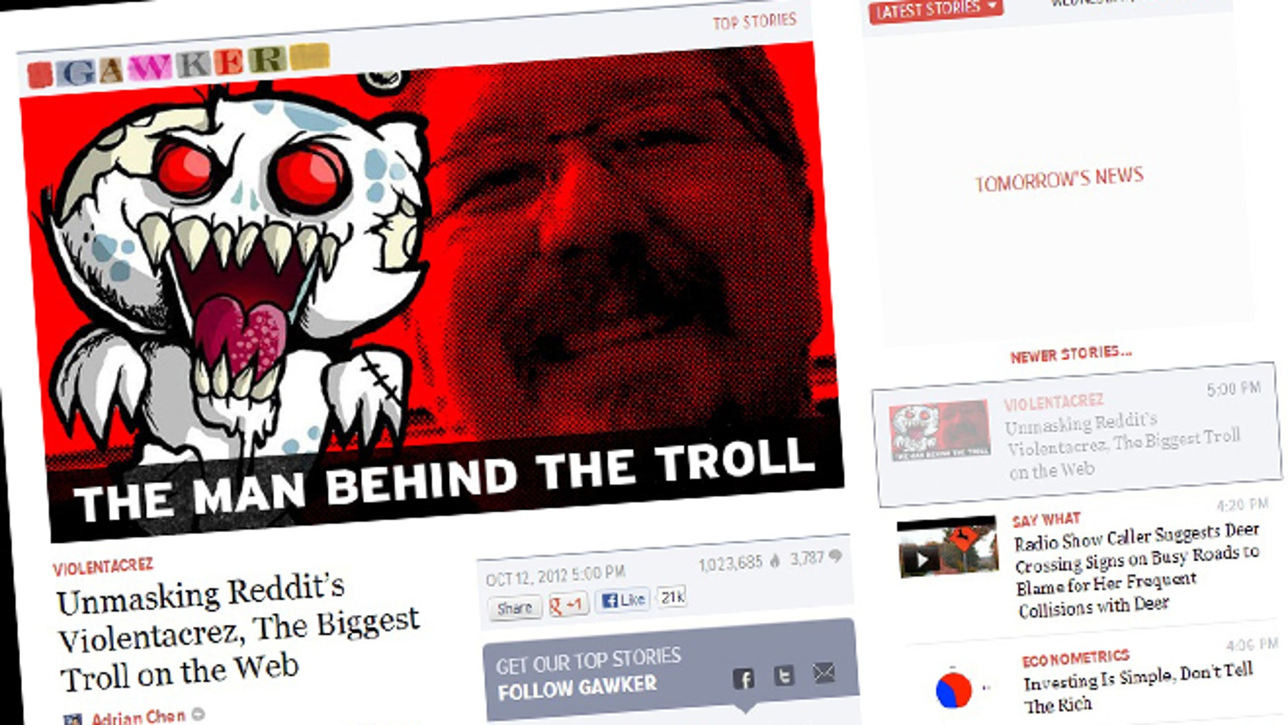 """Oct. 12, 2012: A Gawker expose revealed the identity of Reddit user """"Violentacrez,"""" the admiinstrator of several odious forums including """"creepshots"""" and """"jailbait."""""""