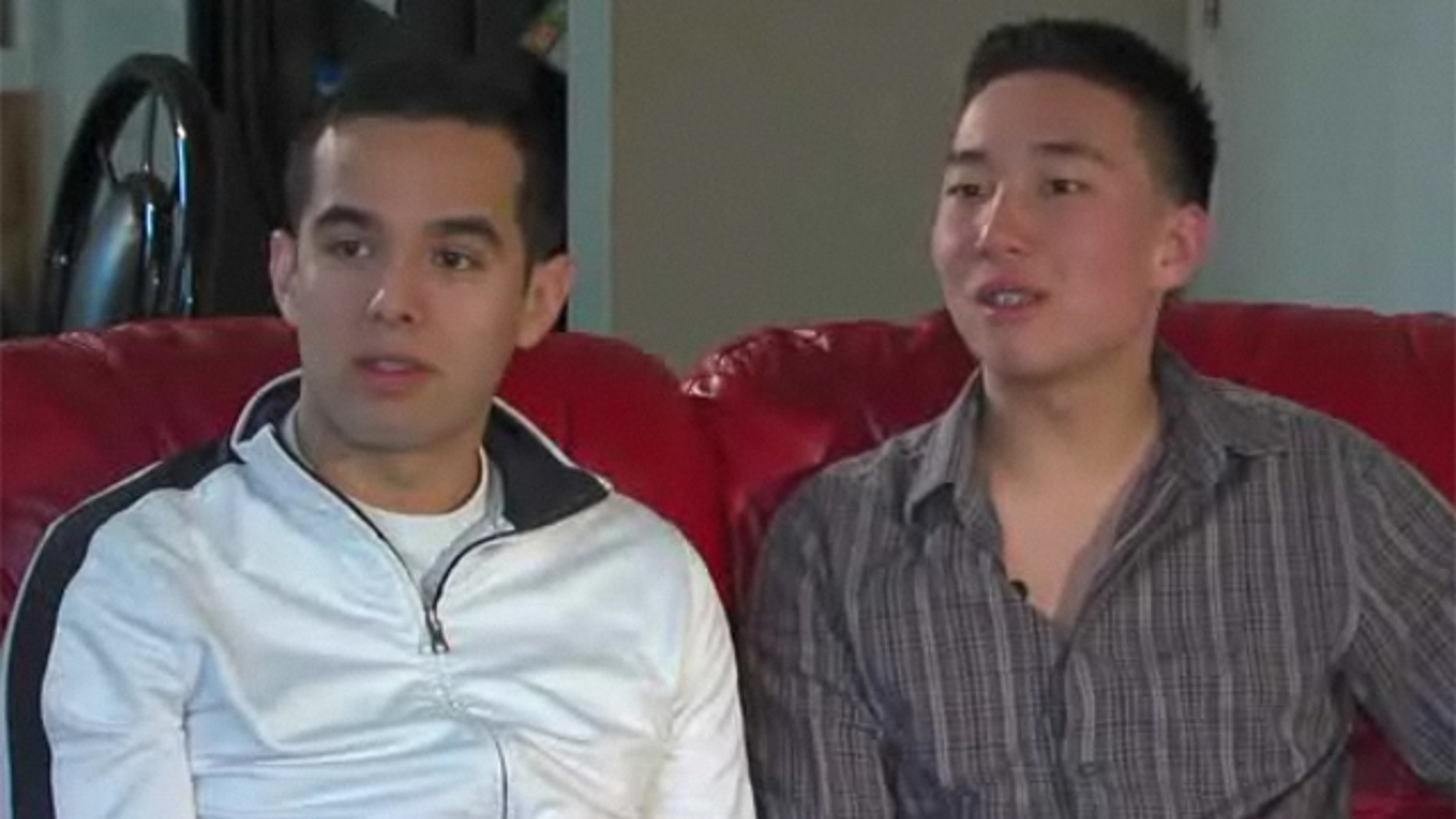 Mar. 4, 2013: Daniel Chesmore and Jose Guzman say they were kicked out of a local mall for PDA.