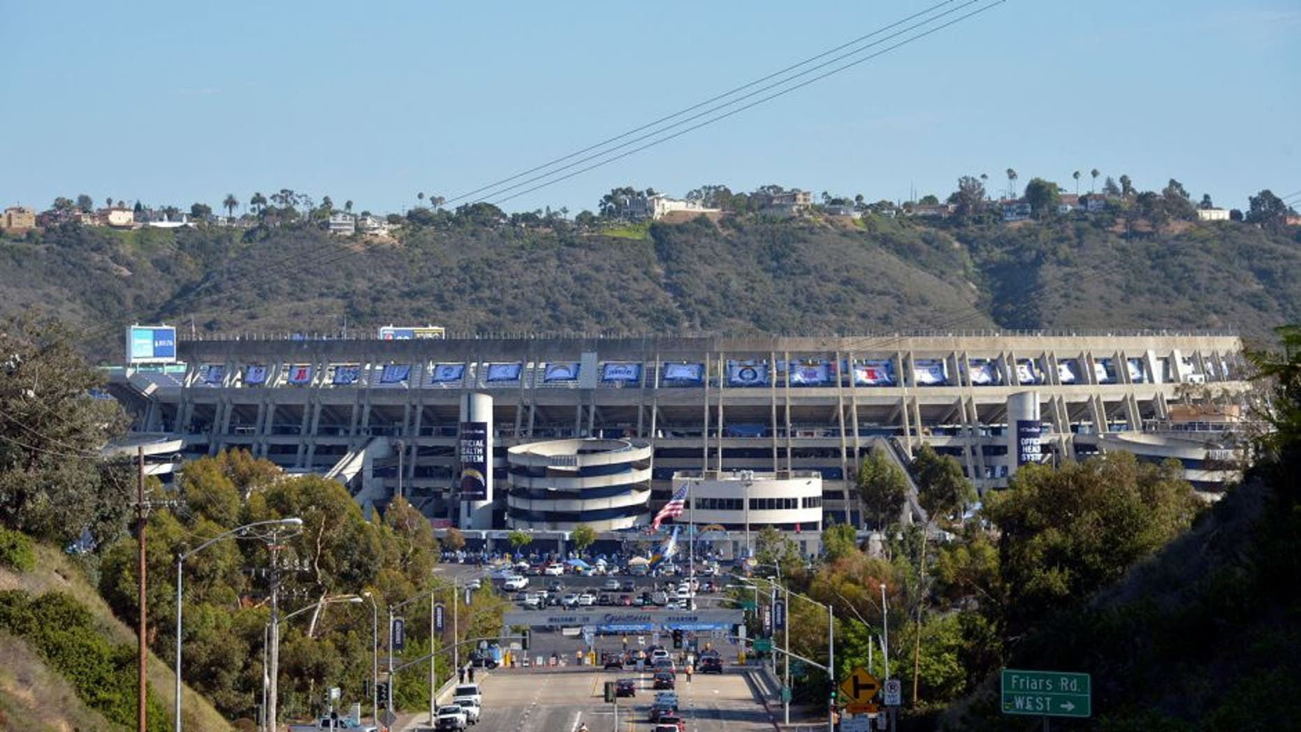 Aug 13, 2015; San Diego, CA, USA; General view of the Qualcomm Stadium exterior before the NFL preseason game between the Dallas Cowboys and San Diego Chargers. Mandatory Credit: Kirby Lee-USA TODAY Sports