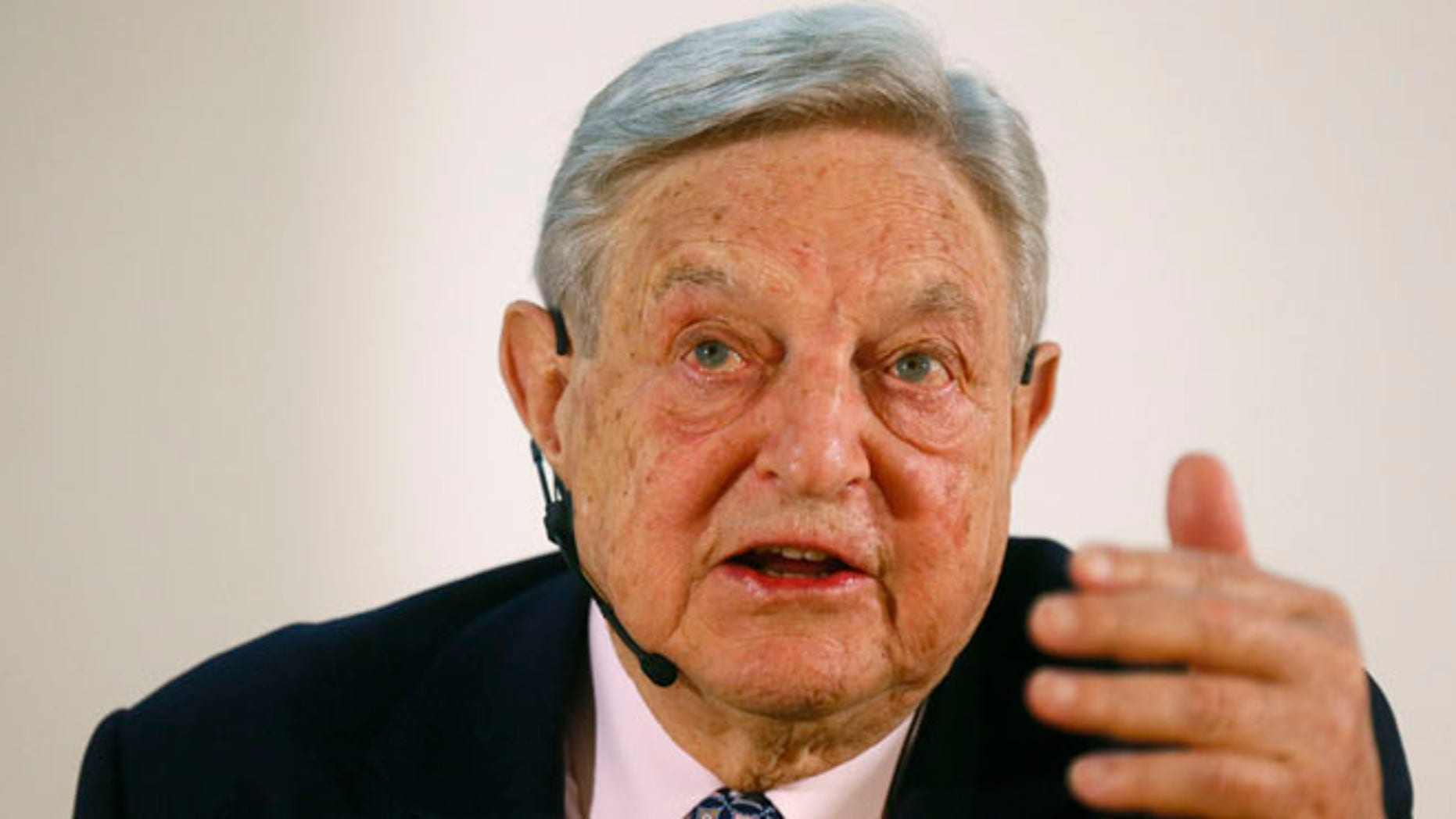 George Soros, Chairman of Soros Fund Management LLC during an economic speech in Frankfurt April 9, 2013.