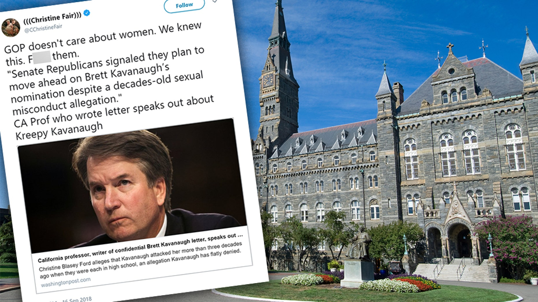 An associate professor at Georgetown University invoked profanity in a Twitter rant targeting Brett Kavanaugh and the Republican Party.