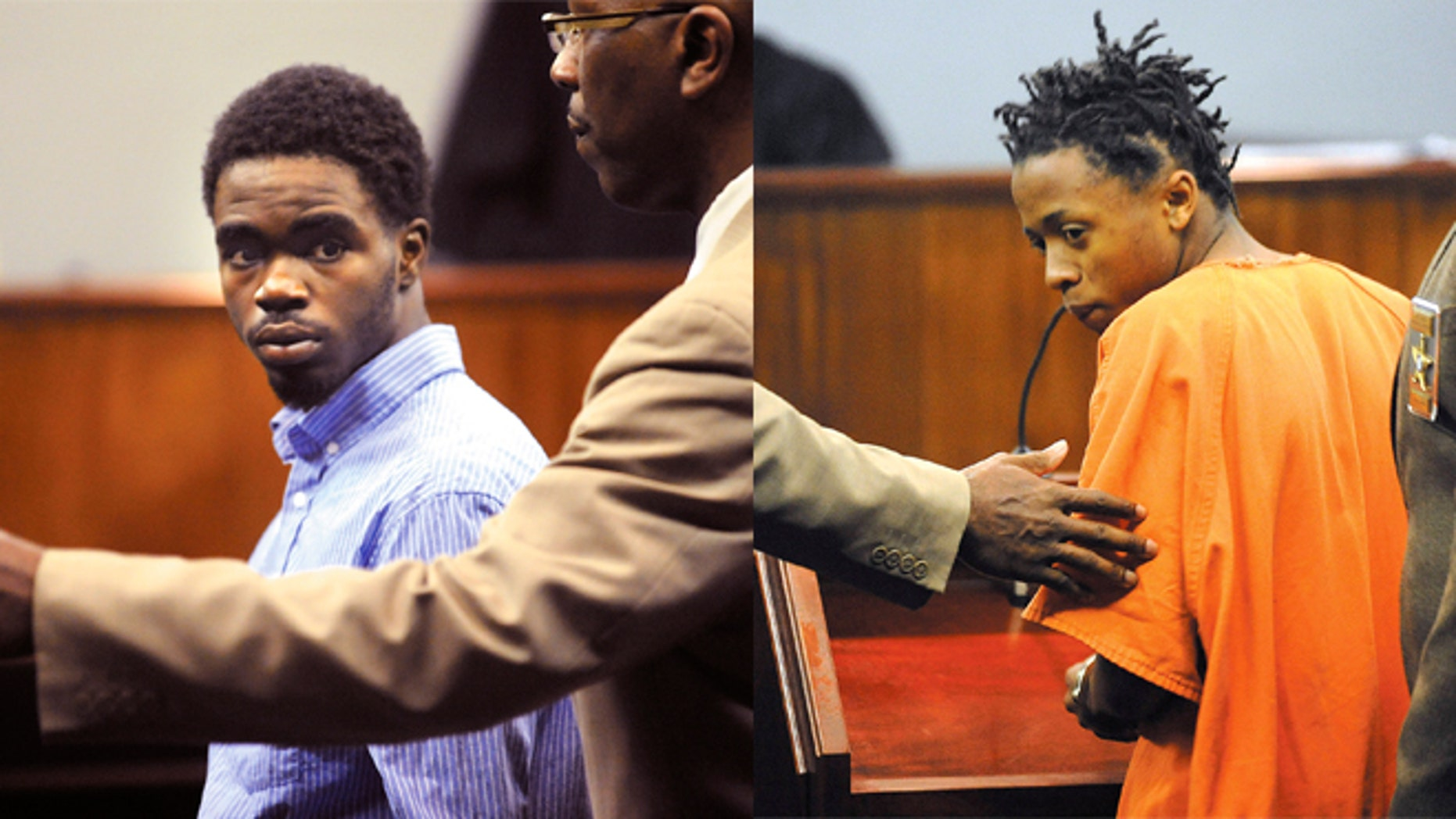 (LEFT) A Glynn County Sheriff's Deputy directs 17 year-old De Marquise Elkins out of the courtroom in the Glynn County Courthouse in Brunswick, Ga. (RIGHT)  A Glynn County Sheriff's Deputy directs 15 year-old Dominique Lang out of the courtroom in the Glynn County Courthouse in Brunswick, Ga.