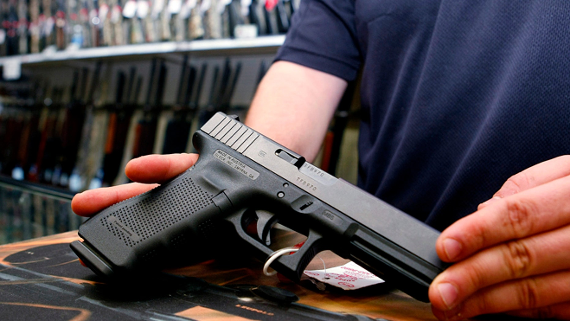 October 25, 2012: A Glock handgun available in a raffle promotion is shown at Adventures Outdoors in Smyrna, Georgia.