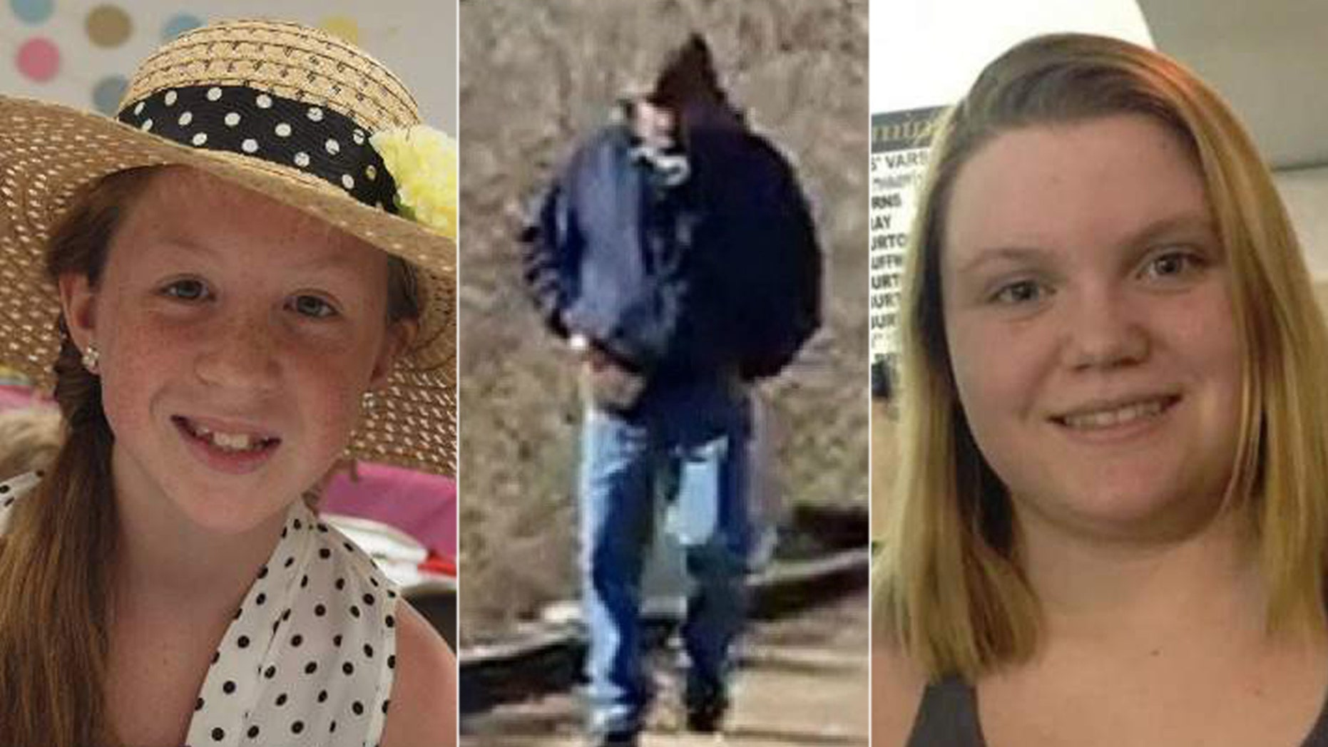 On Feb. 13, 2017, Abigail Williams, 13, and Liberty German, 14, disappeared after being dropped off at the Delphi Historic Trails. The image of the unidentified man (center) was taken from one of the girls' cellphones on the same day they vanished.