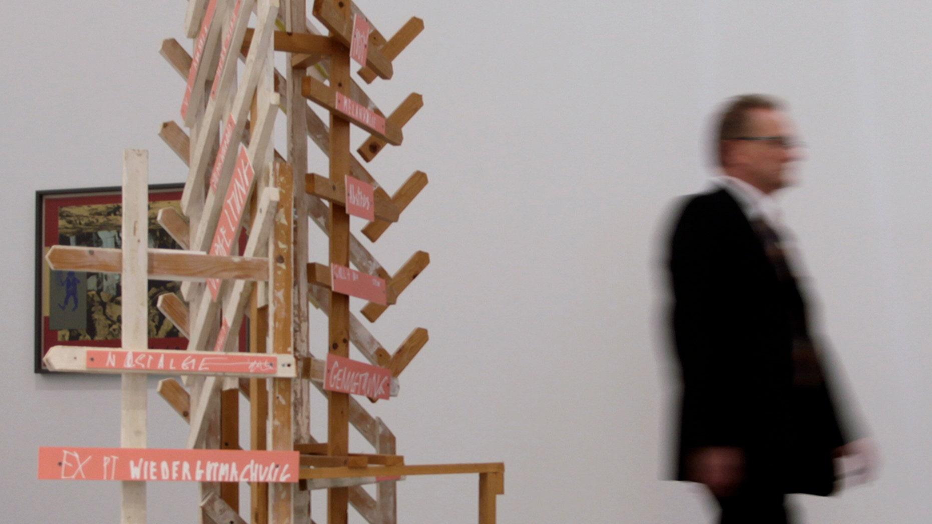 """Nov. 3, 2011: Wenn's anfaengt durch die Decke zu tropfen"""" ( """"When it Starts Dripping from the Ceiling"""" ) by German artist Martin Kippenberger in the Ostwall museum in Dortmund, western Germany."""