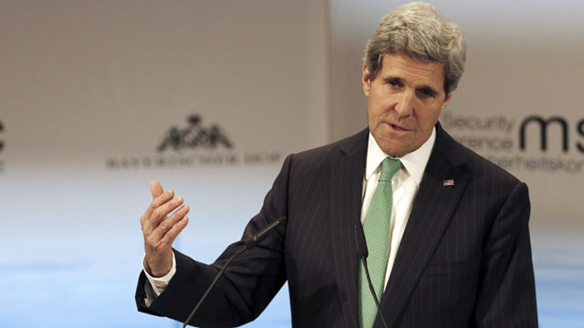 February 1, 2014: US Secretary of State John Kerry addresses the participants during the 50th Security Conference in Munich, Germany. (AP Photo/Frank Augstein)