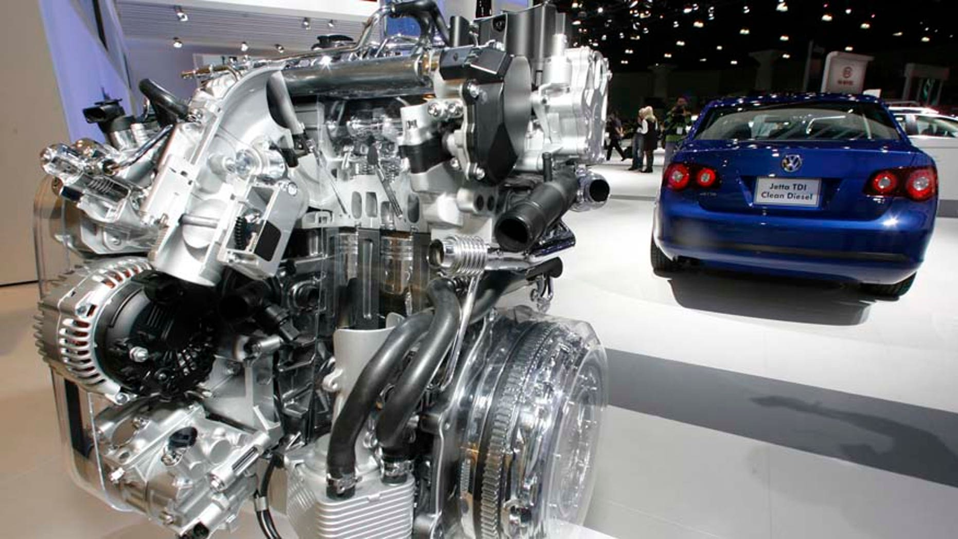 """FILE - In this Nov. 20, 2008 file photo a Volkswagen Jetta TDI diesel engine is displayed at the Los Angeles Auto Show. Green Car Journal named Volkswagen's 2009 Jetta TDI as the """"Green Car of the Year"""" at the show on Thursday, making it the first clean-diesel vehicle to win the prize. Around 15 billion euros (US$ 16.9 billion) was wiped off the market value of Volkswagen AG on Monday, Sept. 21, 2015 following revelations that the German carmaker rigged U.S. emissions tests for about 500,000 diesel cars. (AP Photo/Damian Dovarganes)"""