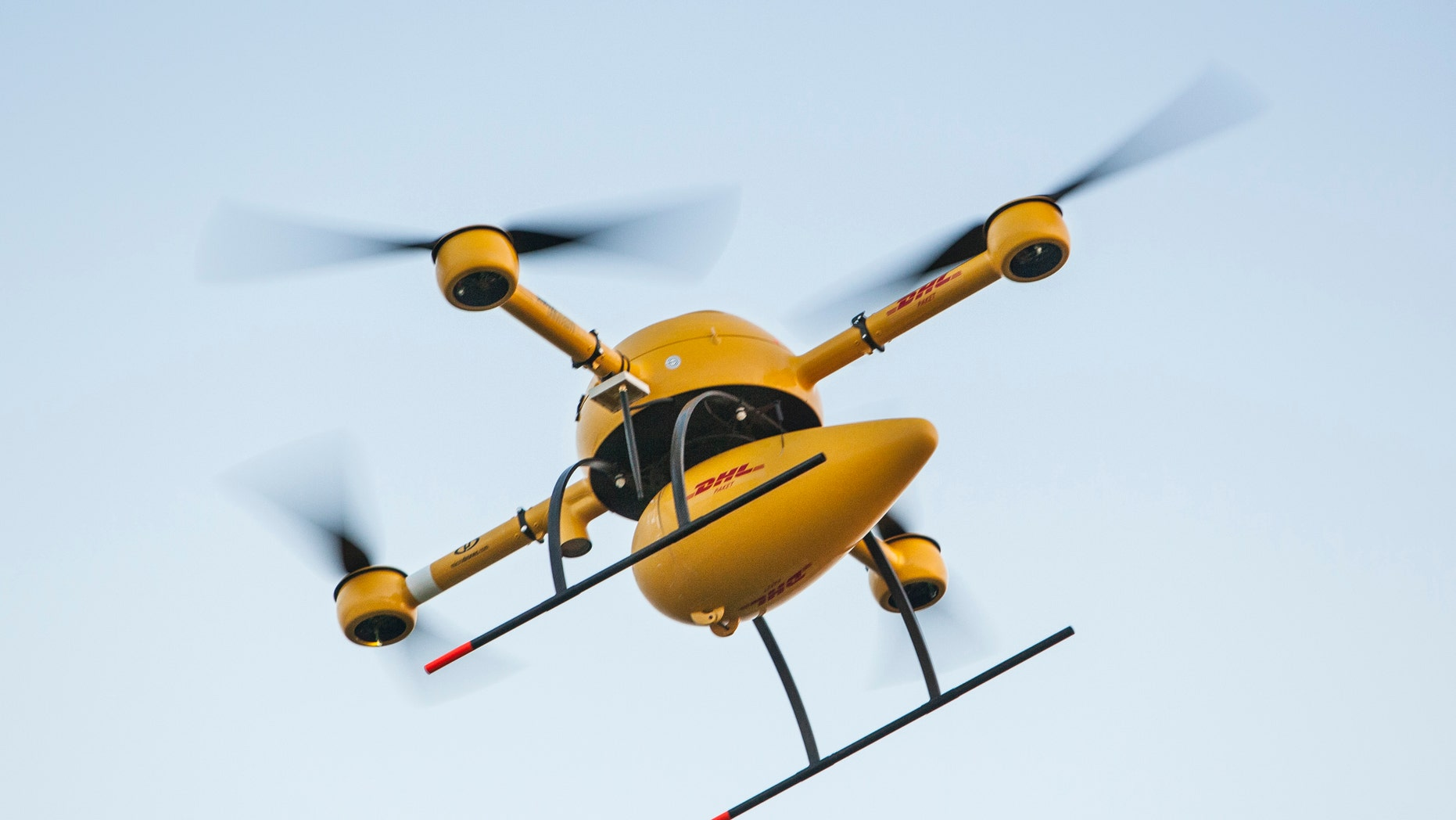 This Sept. 2014 photo provided by Deutsche Post/DHL shows a flying DHL drone in Germany.