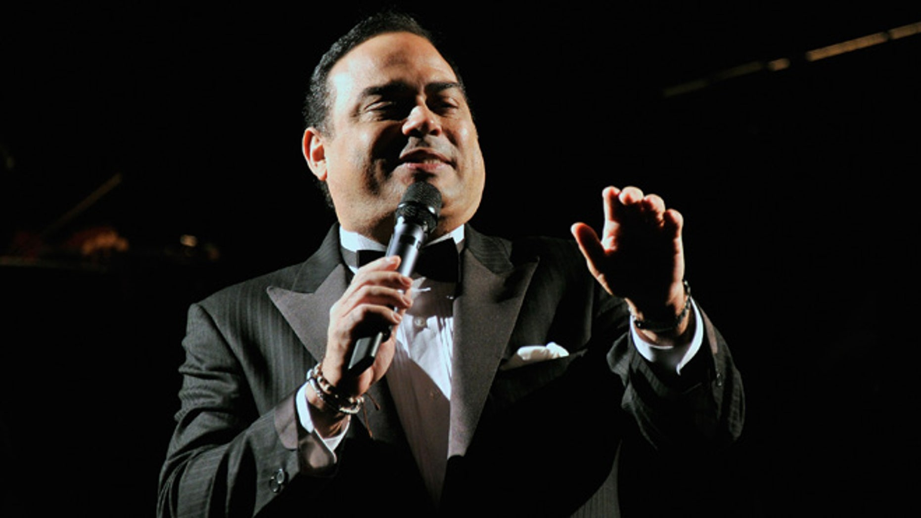 """NEW YORK, NY - JULY 11:  Singer Gilberto Santa Rosa performs at the """"Forever Tango"""" Press Preview at Walter Kerr Theatre on July 11, 2013 in New York City.  (Photo by Stephen Lovekin/Getty Images)"""