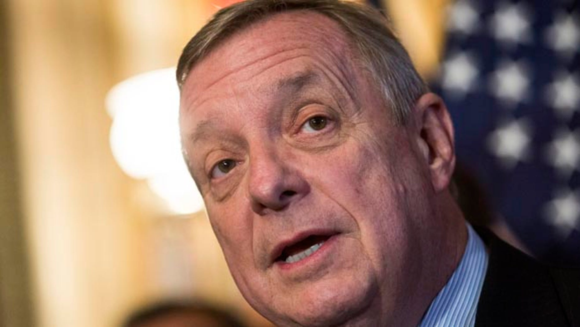 WASHINGTON, DC - DECEMBER 10: Sen. Dick Durbin (D-IL) speaks during a news conference to discuss U.S. President Barack Obama's executive order on immigration, on Capitol Hill, December 10, 2014 in Washington, DC. President Obama traveled to Nashville, Tennessee on Tuesday, where he defended his actions on immigration and again called on Congress to pass an immigration bill. (Photo by Drew Angerer/Getty Images)
