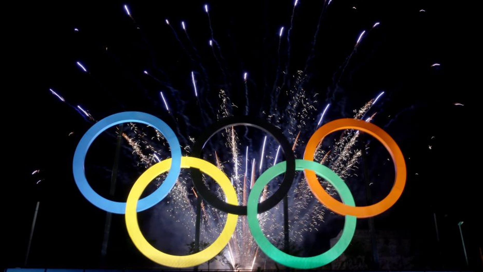 RIO DE JANEIRO, BRAZIL - MAY 20: The Olympic Rings are unveiled at a ceremony at Madureira Park May 20, 2015 in Rio de Janeiro, Brazil. (Photo by Matthew Stockman/Getty Images)
