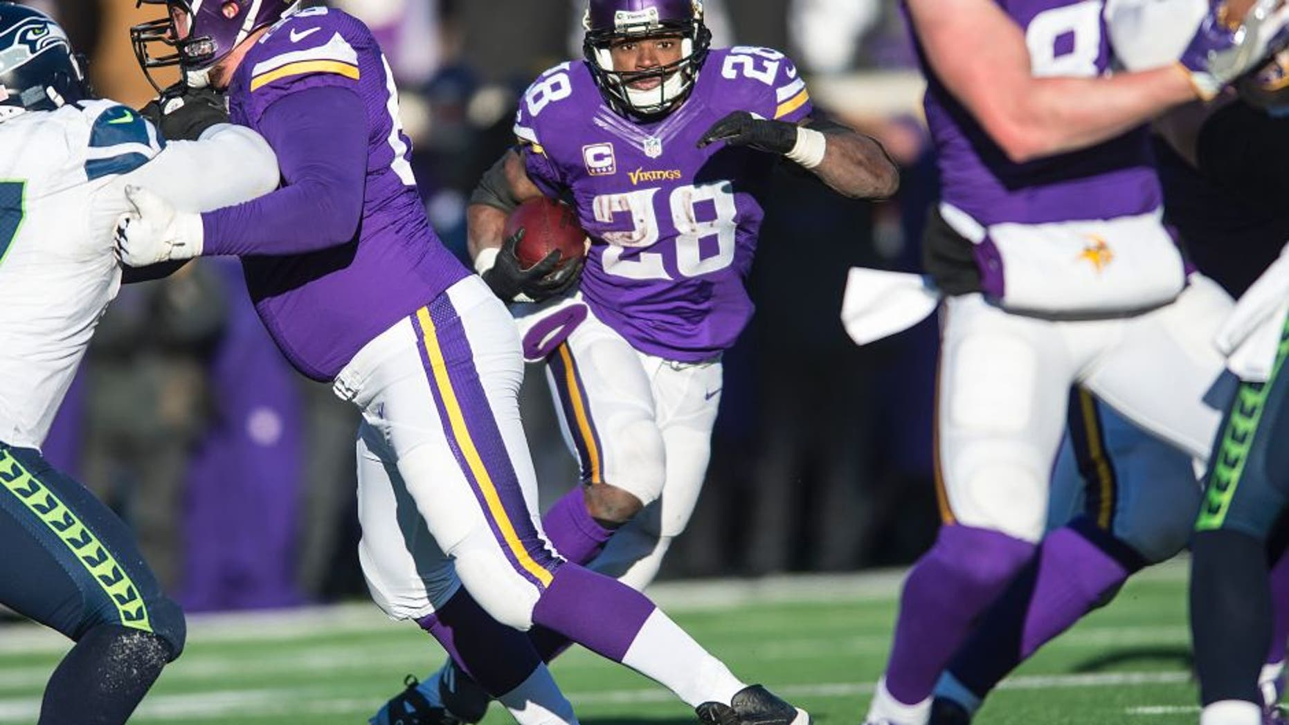 MINNEAPOLIS, MN - JANUARY 10: Adrian Peterson #28 of the Minnesota Vikings carries the ball during an NFL game against the Seattle Seahawks at TCF Bank Stadium January 10, 2016 in Minneapolis, Minnesota. (Photo by Tom Dahlin/Getty Images)