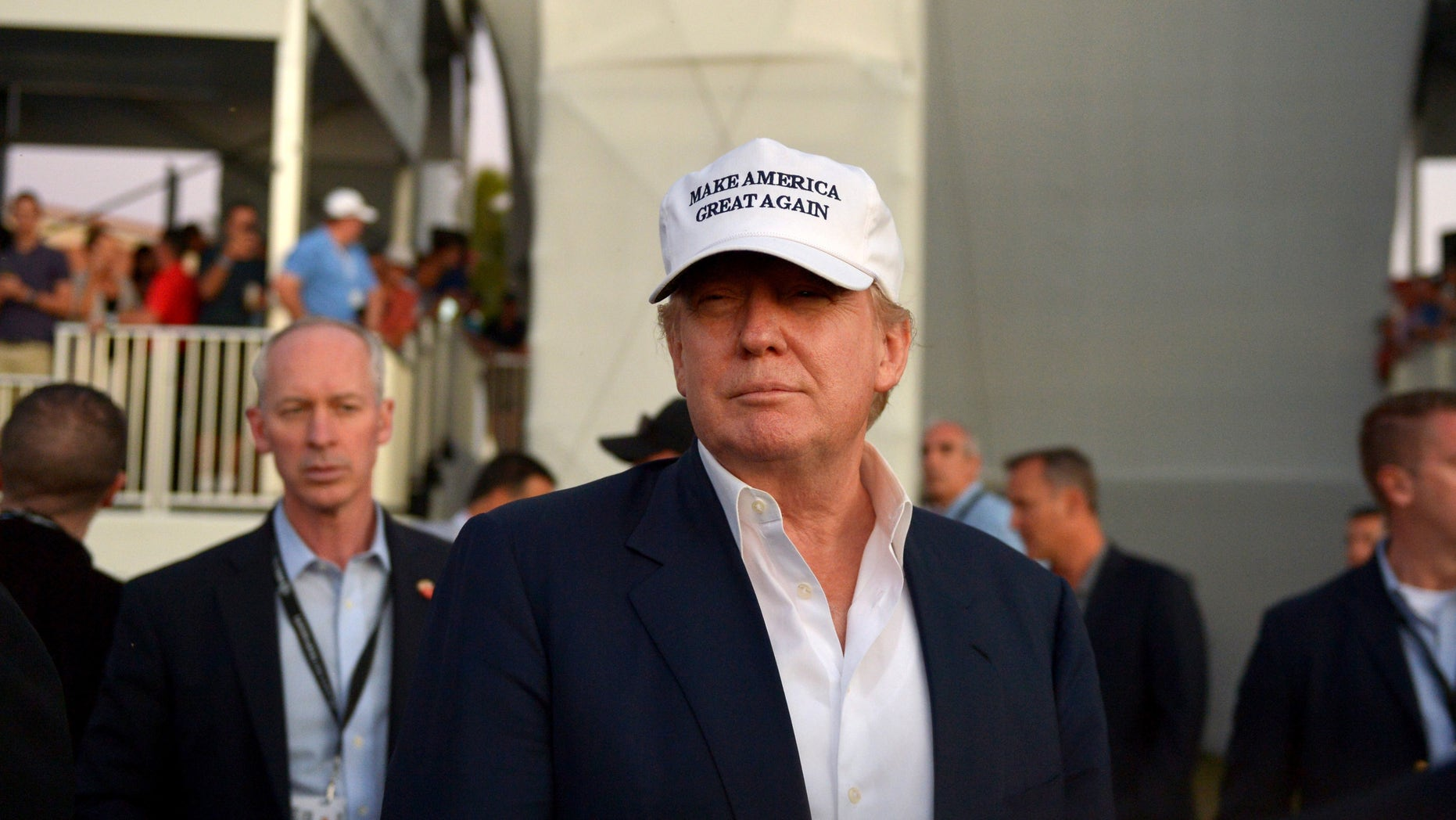 Donald Trump at Trump National Doral Blue Monster Course  on March 6, 2016 in Doral, Florida.