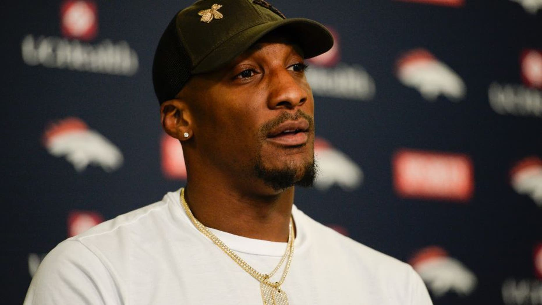 ENGLEWOOD, CO - APRIL 18: Denver Broncos Aqib Talib addresses the media during a press conference April 18, 2016 at UCHealth Training Facility as the attend the offseason workout program. (Photo By John Leyba/The Denver Post via Getty Images)