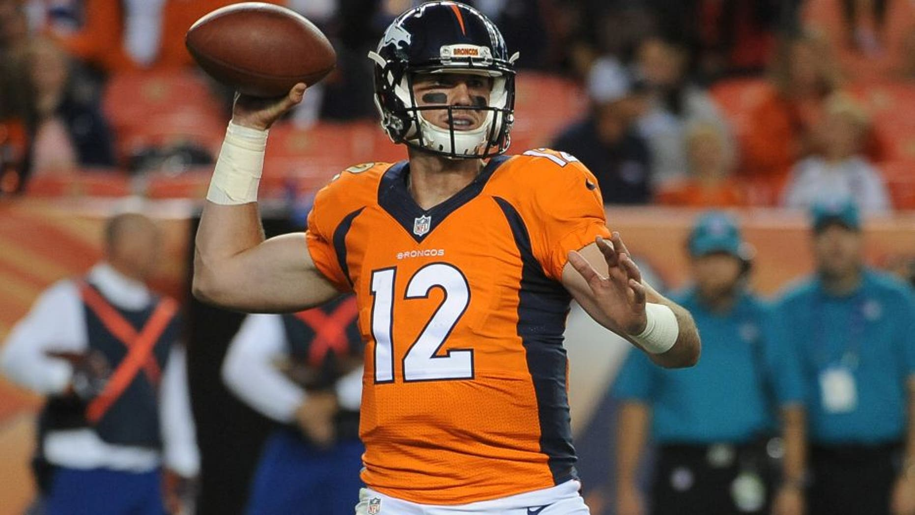 DENVER, CO - AUGUST 20: Denver Broncos quarterback Paxton Lynch sets to pass in the fourth quarter against the San Francisco 49ers at Sports Authority Field at Mile High on Saturday, August 20, 2016. (Photo by Steve Nehf/The Denver Post via Getty Images)