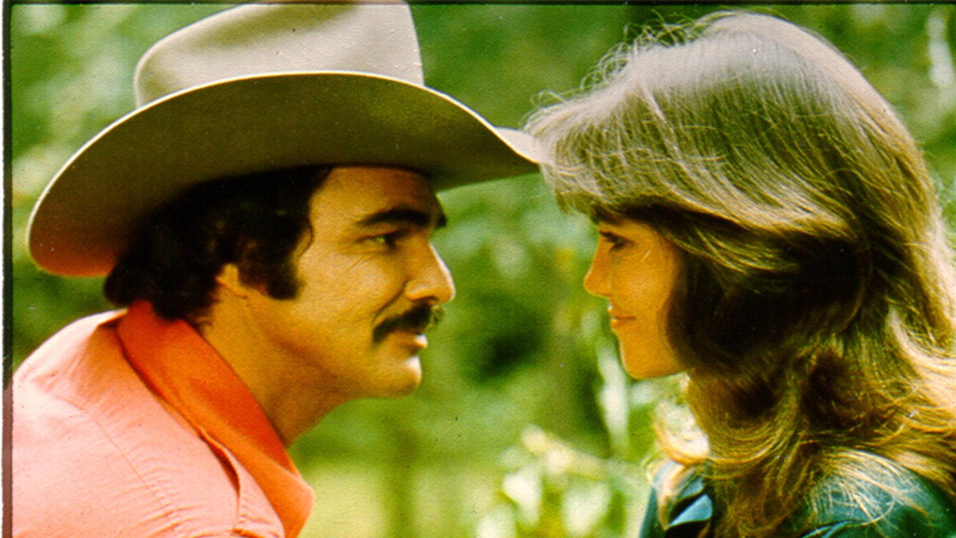 """Burt Reynolds and Sally Field filming 1977's """"Smokey and the Bandit."""""""