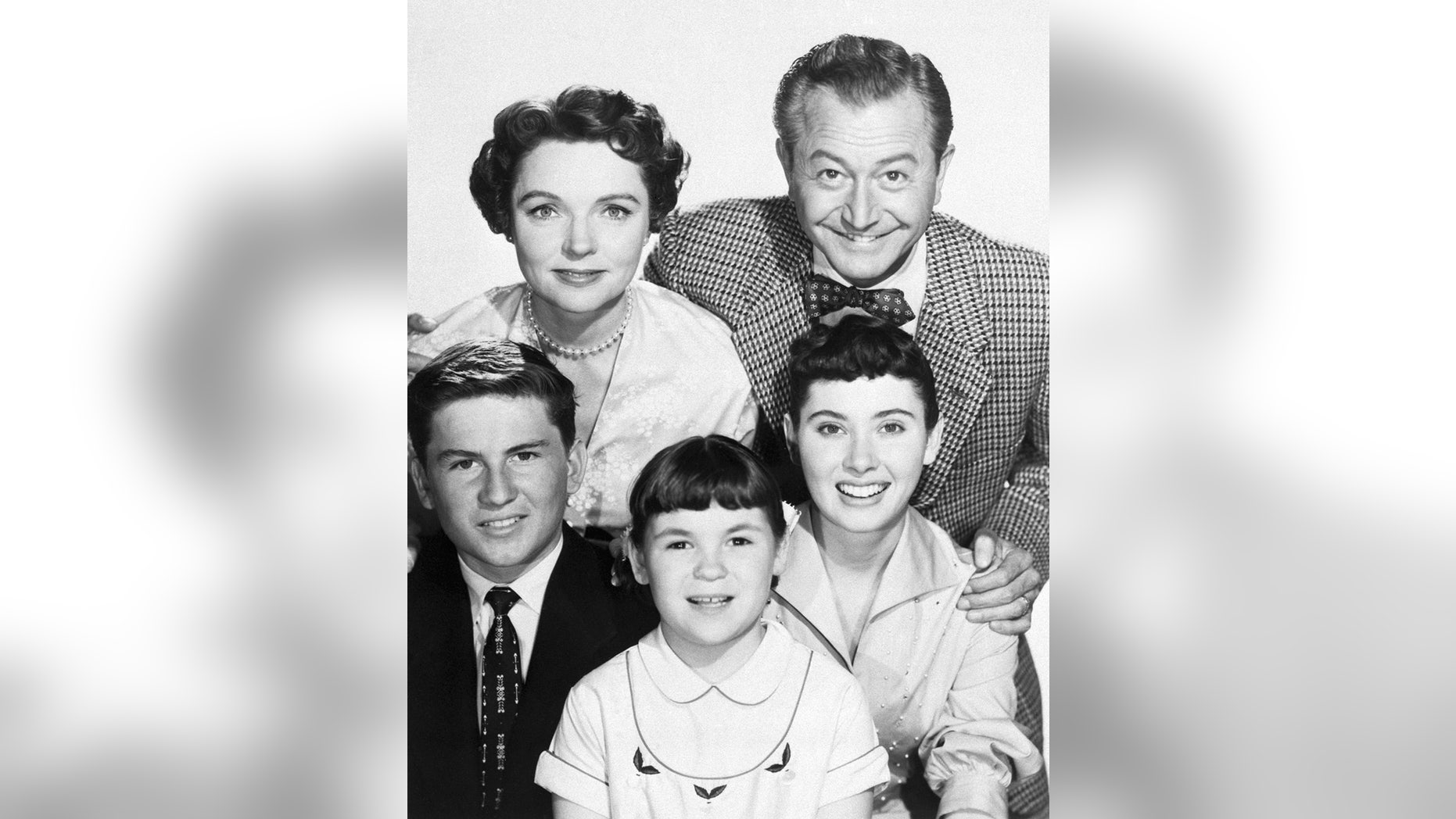 "Elinor Donahue (upper right) with her TV family from the show ""Father Knows Best."""