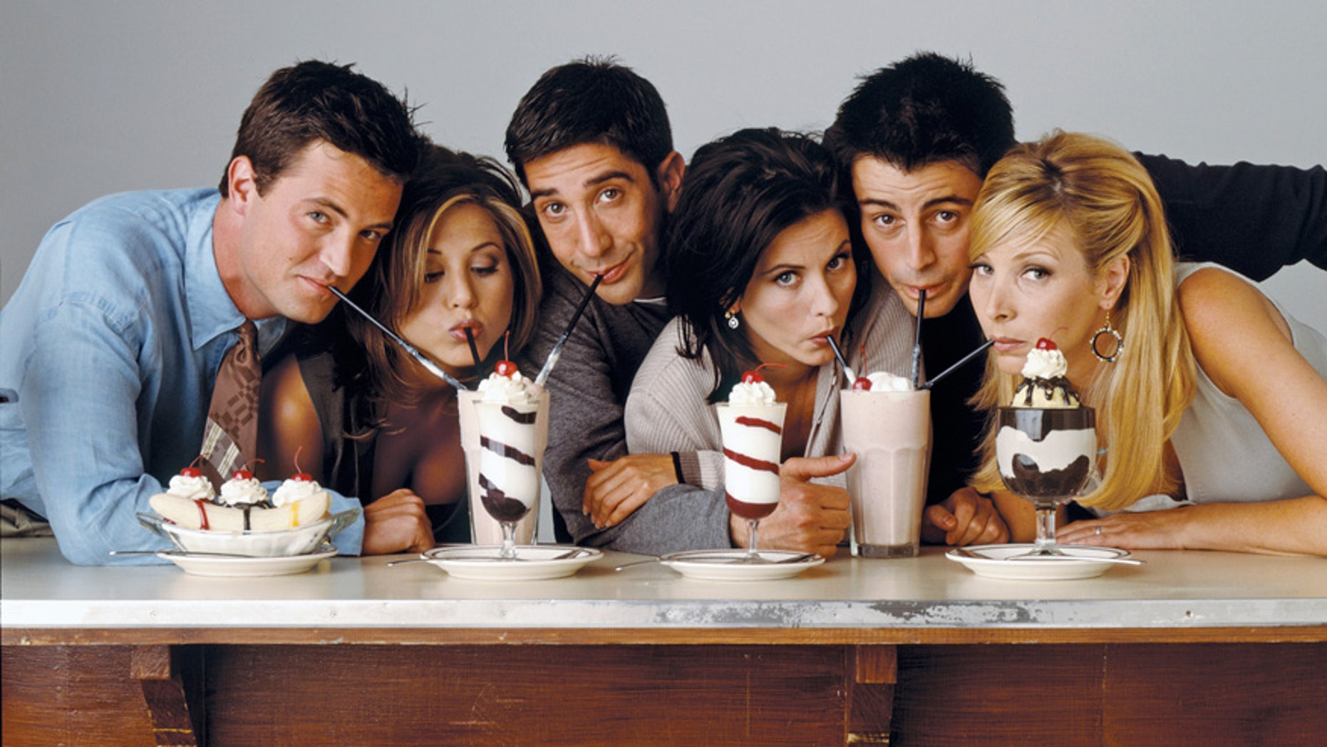 Pictured: (l-r) Matthew Perry as Chandler Bing, Jennifer Aniston as Rachel Green, David Schwimmer as Ross Geller, Courteney Cox as Monica Geller, Matt Le Blanc as Joey Tribbiani, Lisa Kudrow as Phoebe Buffay (Photo by NBC/NBCU Photo Bank via Getty Images)