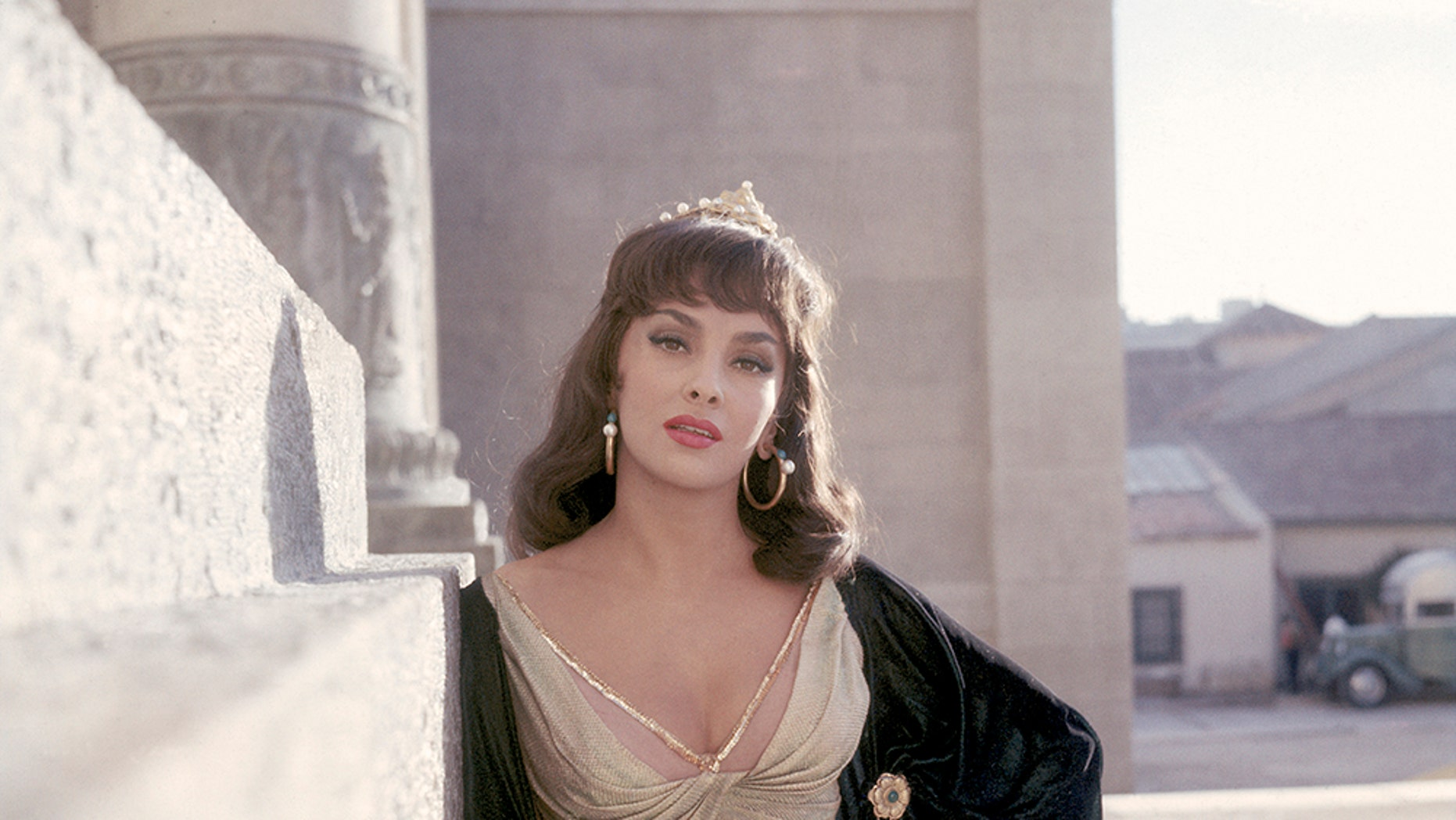 "Hollywood screen actress Gina Lollobrigida on the set of ""Solomon and Sheba."""