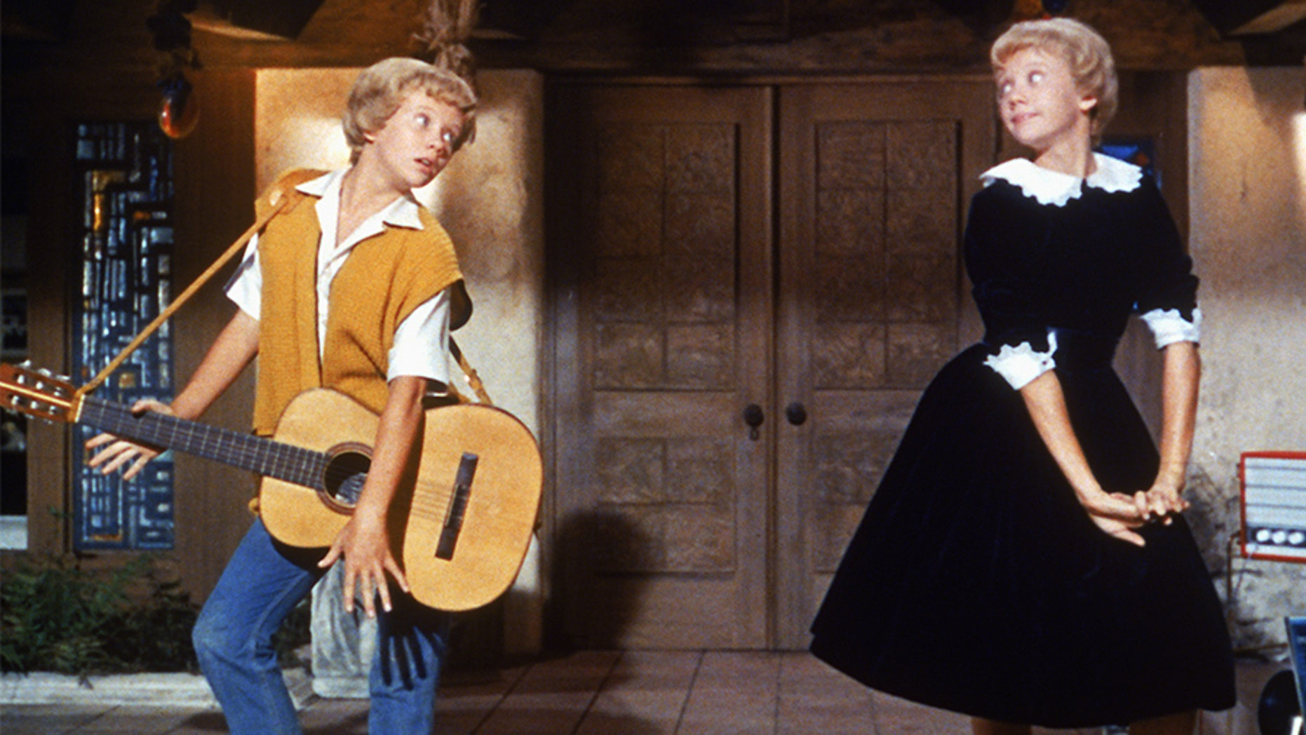 "English actress Hayley Mills as identical twins Sharon McKendrick and Susan Evers in the Walt Disney comedy ""The Parent Trap"" in 1961."