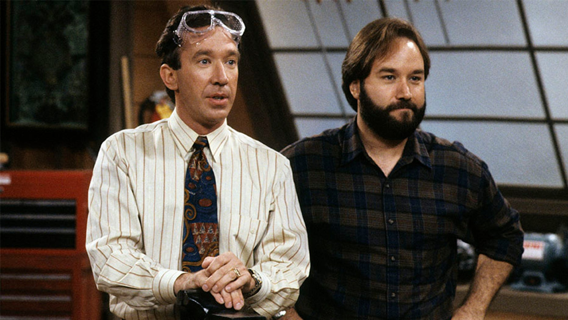 "Richard Karn (right) and Tim Allen of ""Home Improvement"" fame shooting a scene."