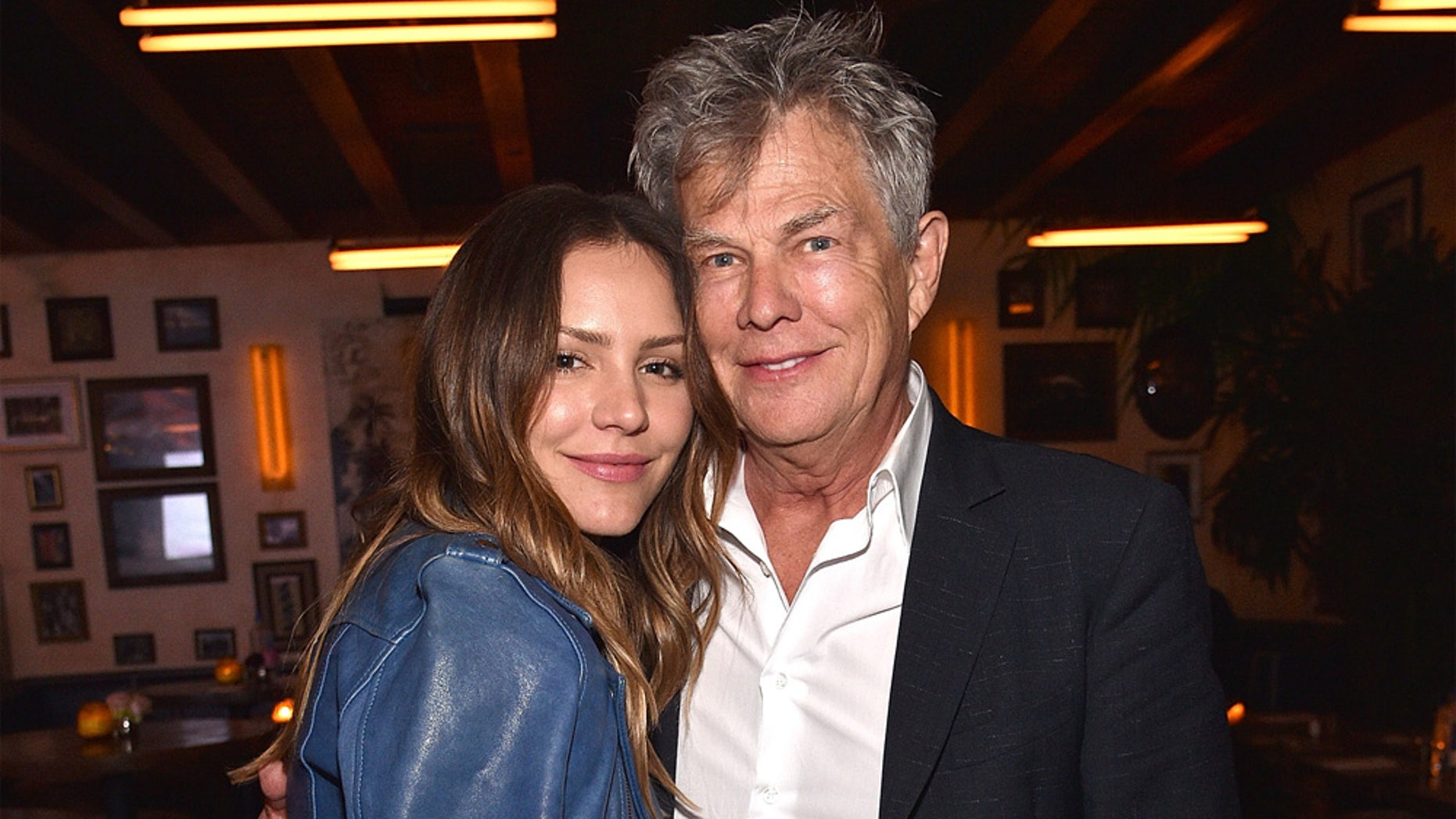 Katharine McPhee and David Foster attend Barbra Streisand's 75th birthday at Cafe Habana on April 24, 2017 in Malibu, California.