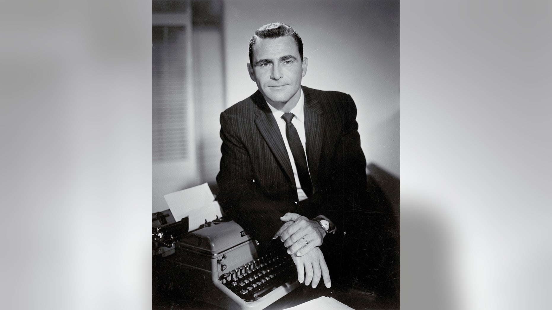 """Portrait of Rod Serling famous for """"The Twilight Zone."""""""