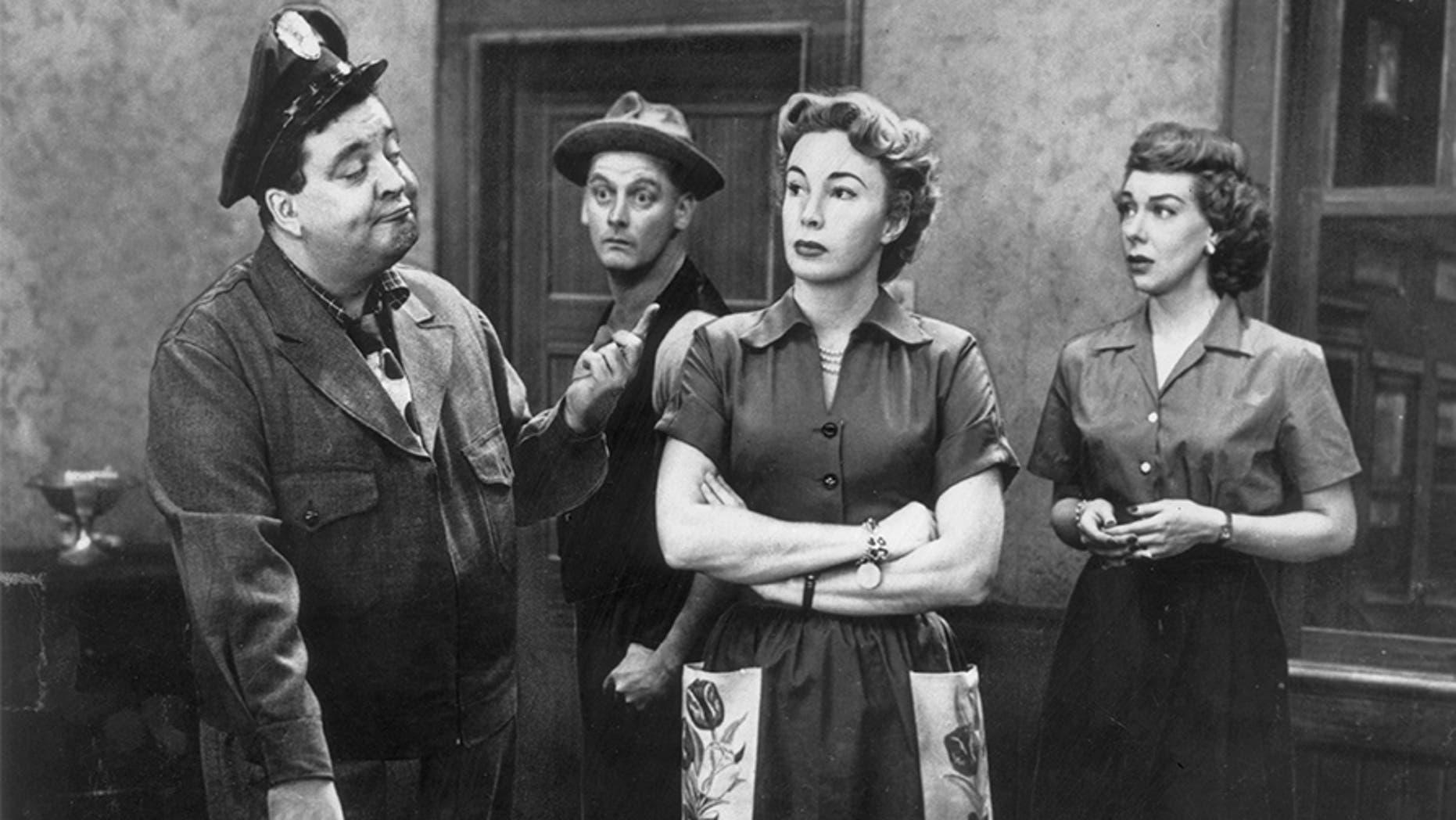 "Cast of the television series ""The Honeymooners"": Jackie Gleason, Art Carney, Audrey Meadows and Joyce Randolph."