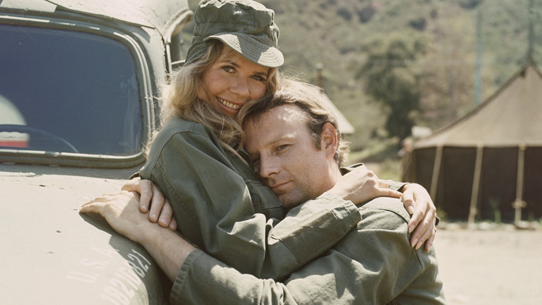"Loretta Swit, as Major Margaret Houlihan, and Larry Linville (1939 - 2000), as Major Frank Burns, on the television series ""M*A*S*H"" in 1972."