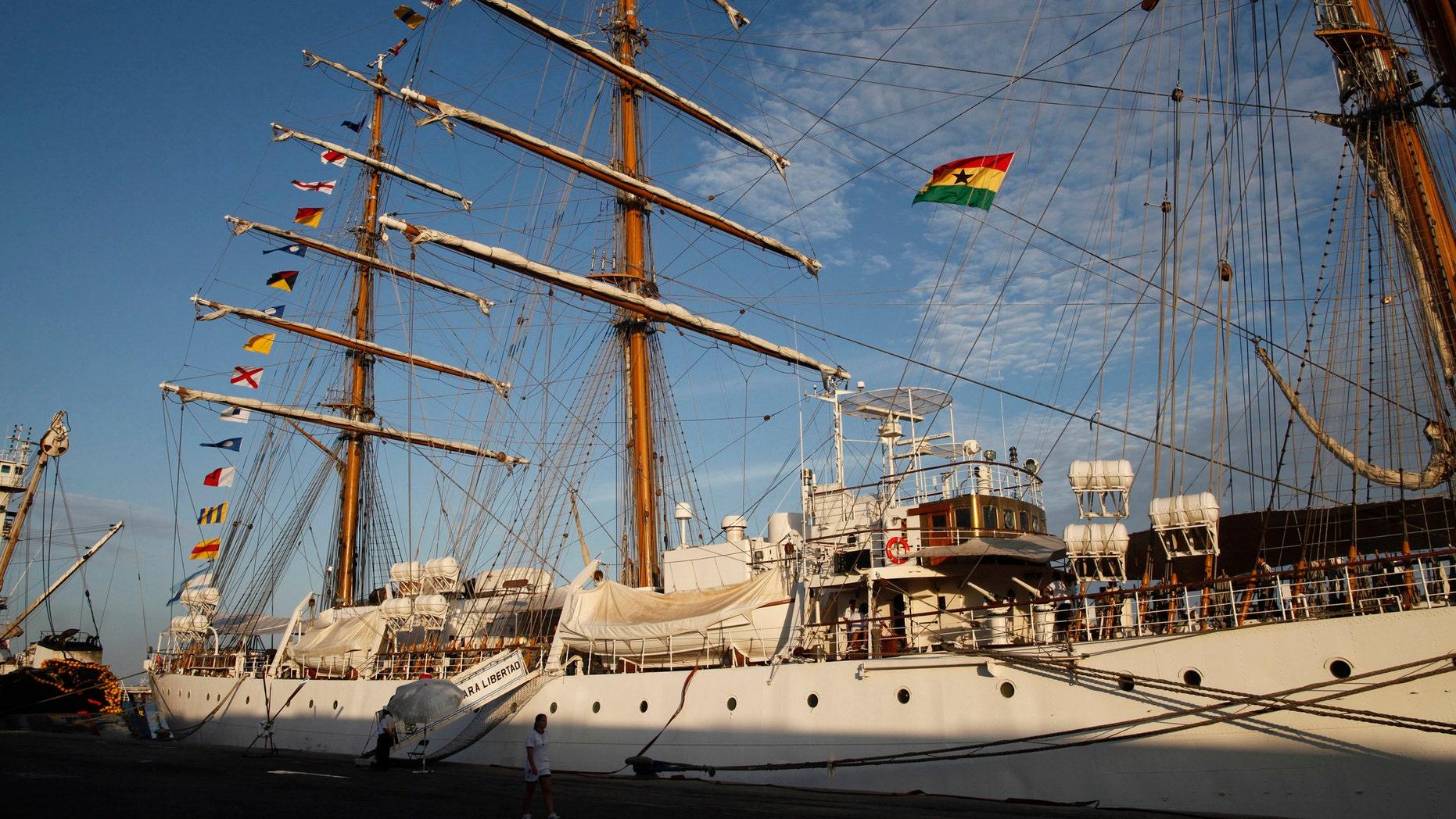 The three-masted ARA Libertad, a symbol of Argentina's navy, sits docked at the port in Tema, outside Accra, Ghana, Saturday, Oct. 20, 2012. (AP Photo/Gabriela Barnuevo)