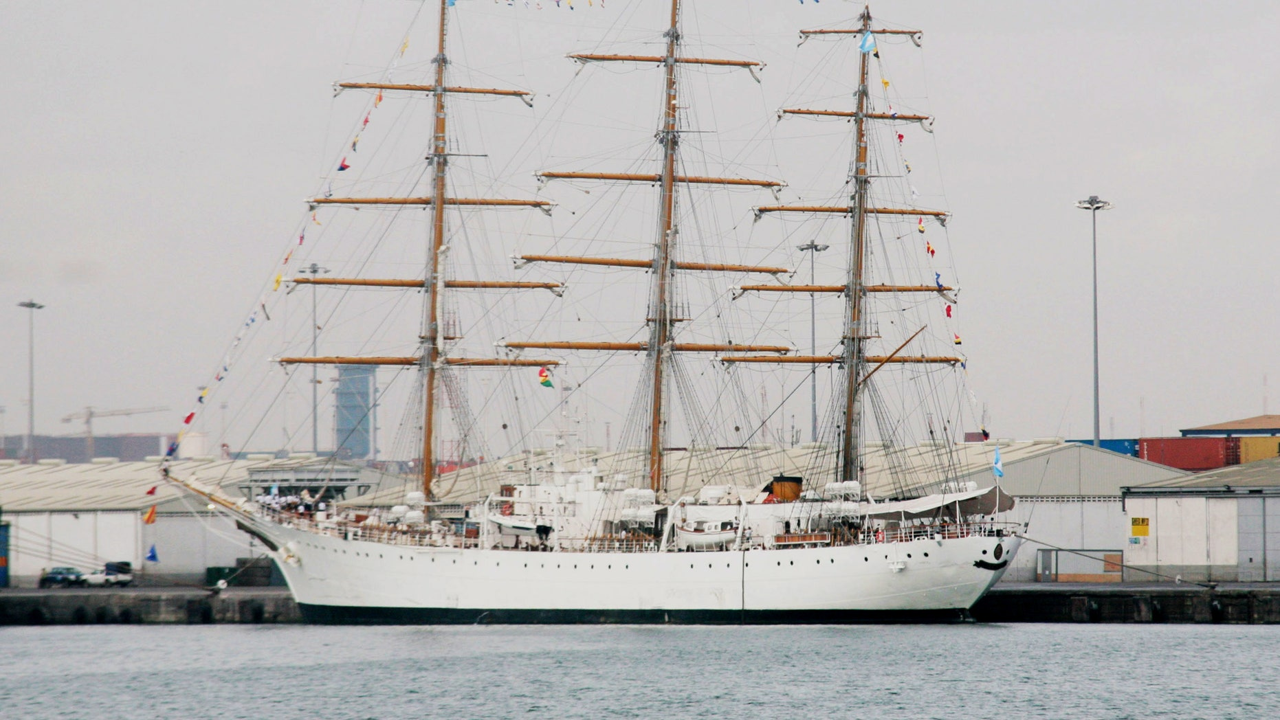 The flagship of Argentina's navy, the A.R.A. Libertad, sits docked at the port of Tema, outside Accra, Ghana, where it is being held by a judge answering a complaint from a U.S. hedge fund, Friday, Oct. 5, 2012. A court in Ghana on Tuesday, Oct. 2,  ordered the ship held in port until Argentina posts a court bond equal to its value, which could be $10 million or more. The three-masted tall ship stopped in Tema while training hundreds of navy cadets. (AP Photo/ Christian Thompson)