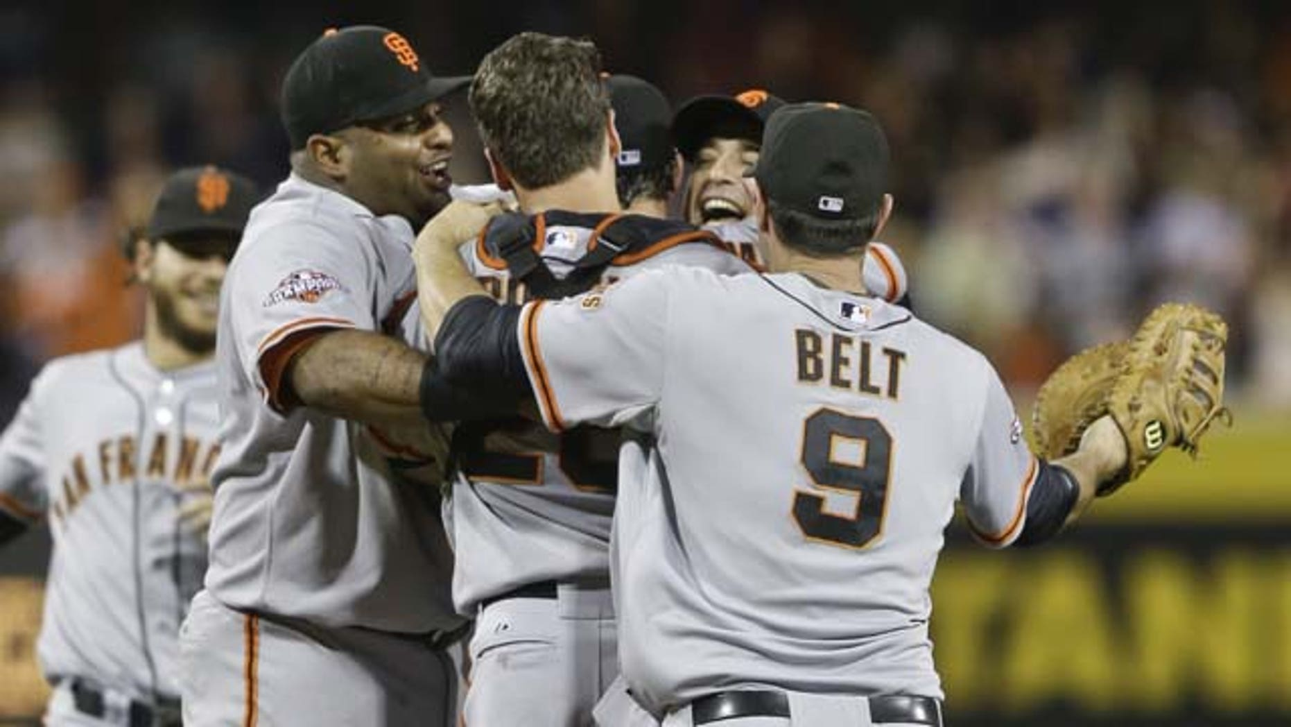 July 13, 2013: San Francisco Giants celebrate after the no hitter thrown by Tim Lincecum against the San Diego Padres in a baseball game in San Diego