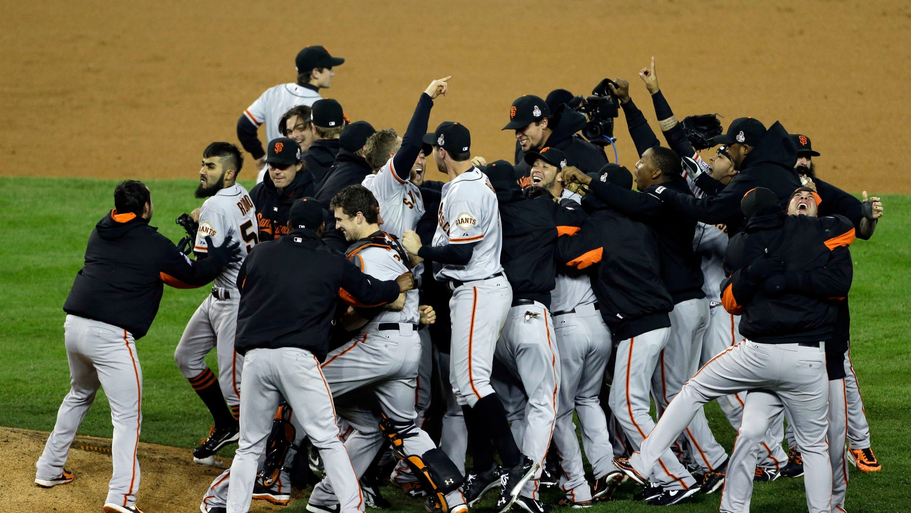 Oct. 28, 2012: San Francisco Giants celebrate after winning Game 4 of baseball's World Series against the Detroit Tigers.