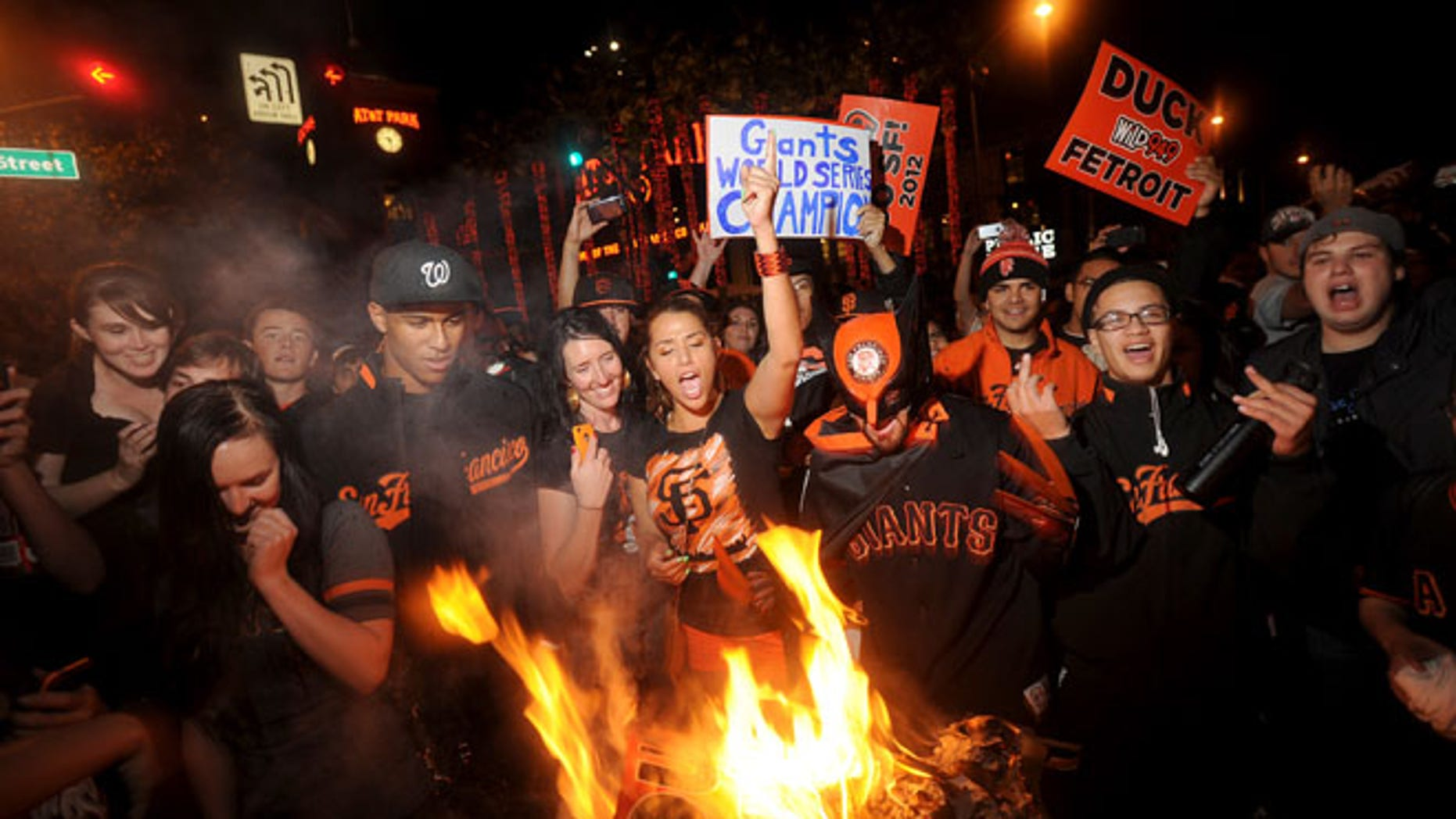 Oct. 28, 2012: San Francisco Giants fans celebrate outside PacBell Park in San Francisco after the Giants swept baseball's World Series against the Detroit Tigers.