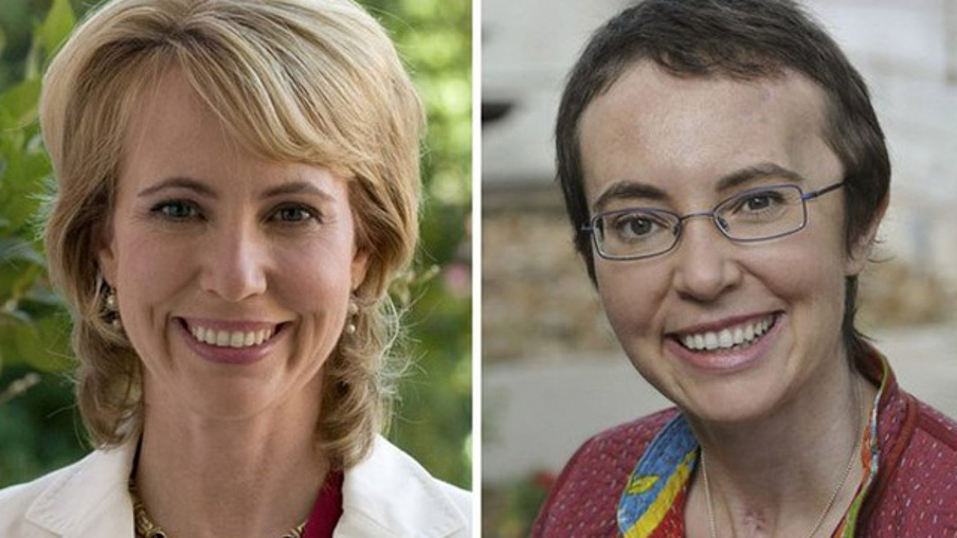 A combination photo shows U.S. Rep. Gabrielle Giffords, right, smiling at TIRR Memorial Hermann Hospital in Houston in a May 17, 2011 photo released on her Facebook page and another during an appearance in Tucson, Arizona in an undated 2010 handout photo.