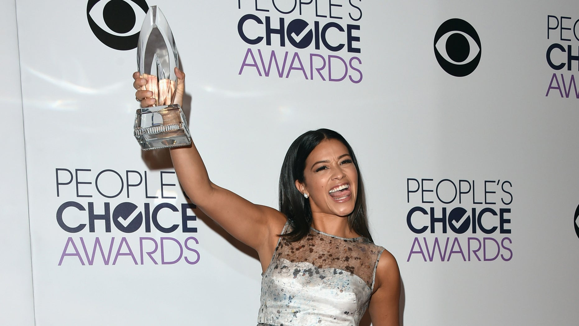 LOS ANGELES, CA - JANUARY 07:  Actress Gina Rodriguez poses in the press room at The 41st Annual People's Choice Awards at Nokia Theatre LA Live on January 7, 2015 in Los Angeles, California.  (Photo by Jason Merritt/Getty Images)