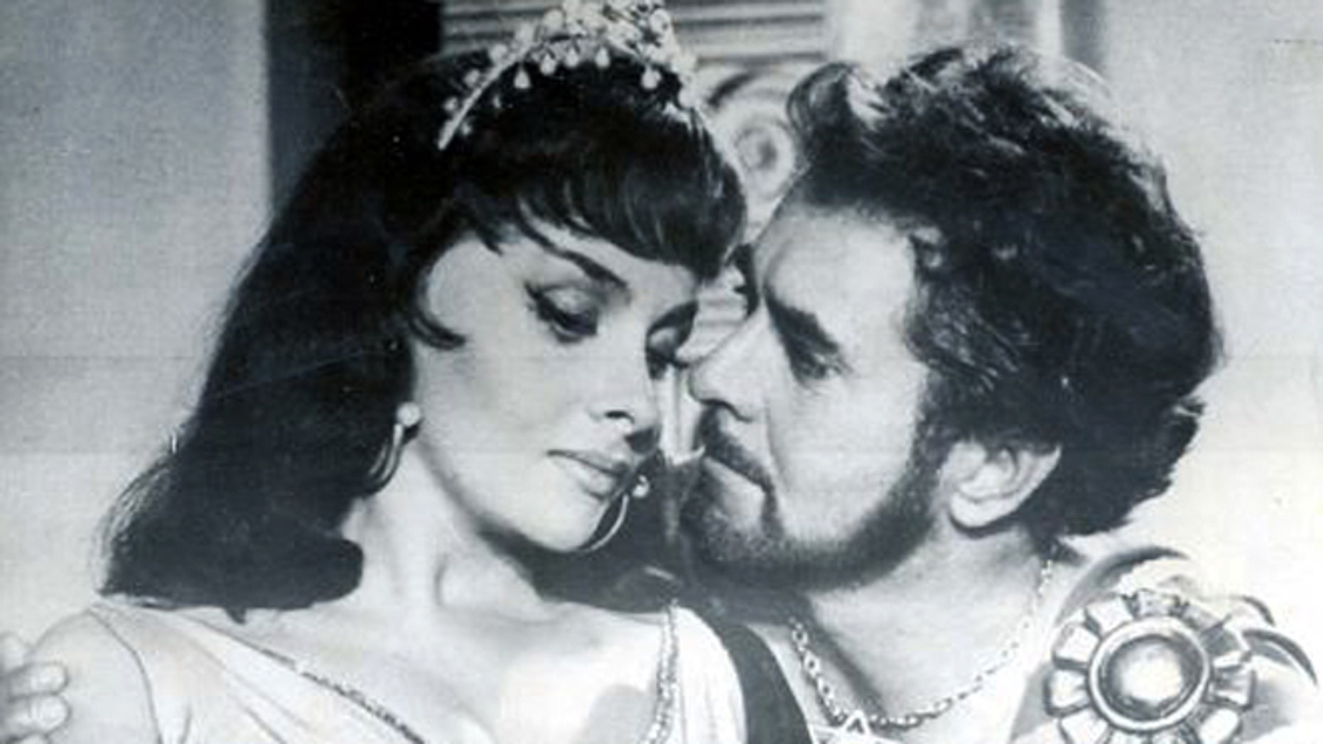 """Gina Lollobrigida plays the Queen of Sheba in the 1959 film """"Solomon and Sheba,"""" beside Tyrone Power as King Solomon."""