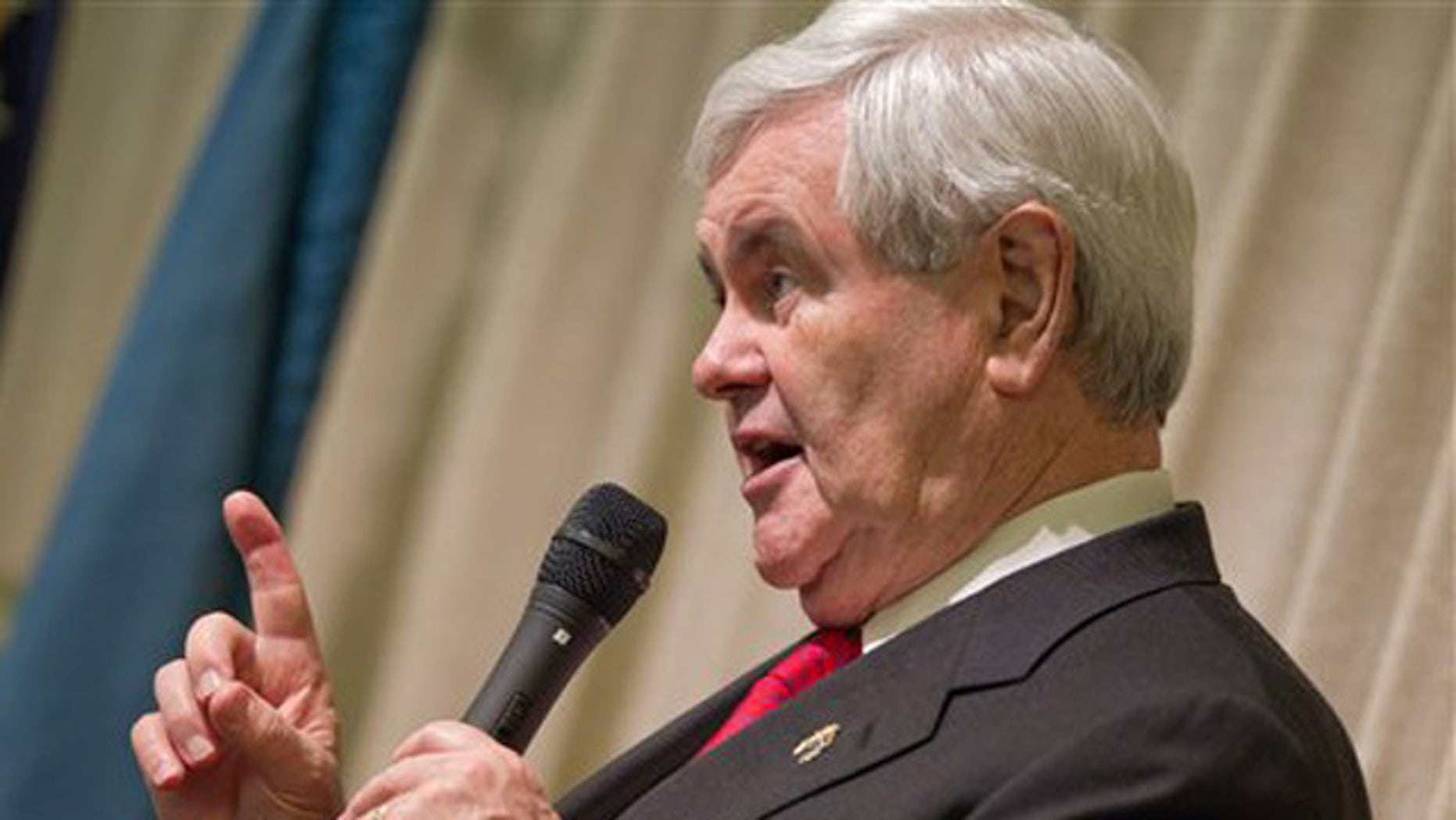 Republican presidential candidate, former House Speaker Newt Gingrich speaks during a visit to the Newark Senior Center, Wednesday, April 11, 2012, in Newark, Del. (AP Photo/The Wilmington News-Journal, Robert Craig)  NO SALES