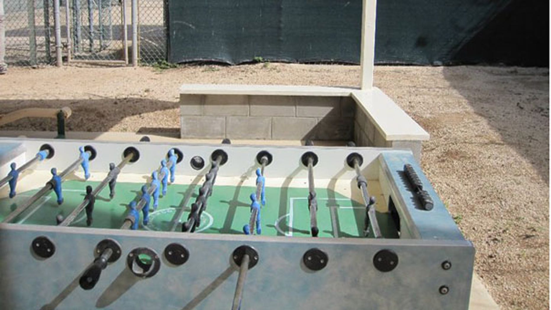 Detainees at Camp 4 in Guantanamo Bay can work off energy by playing foosball. (FNC)